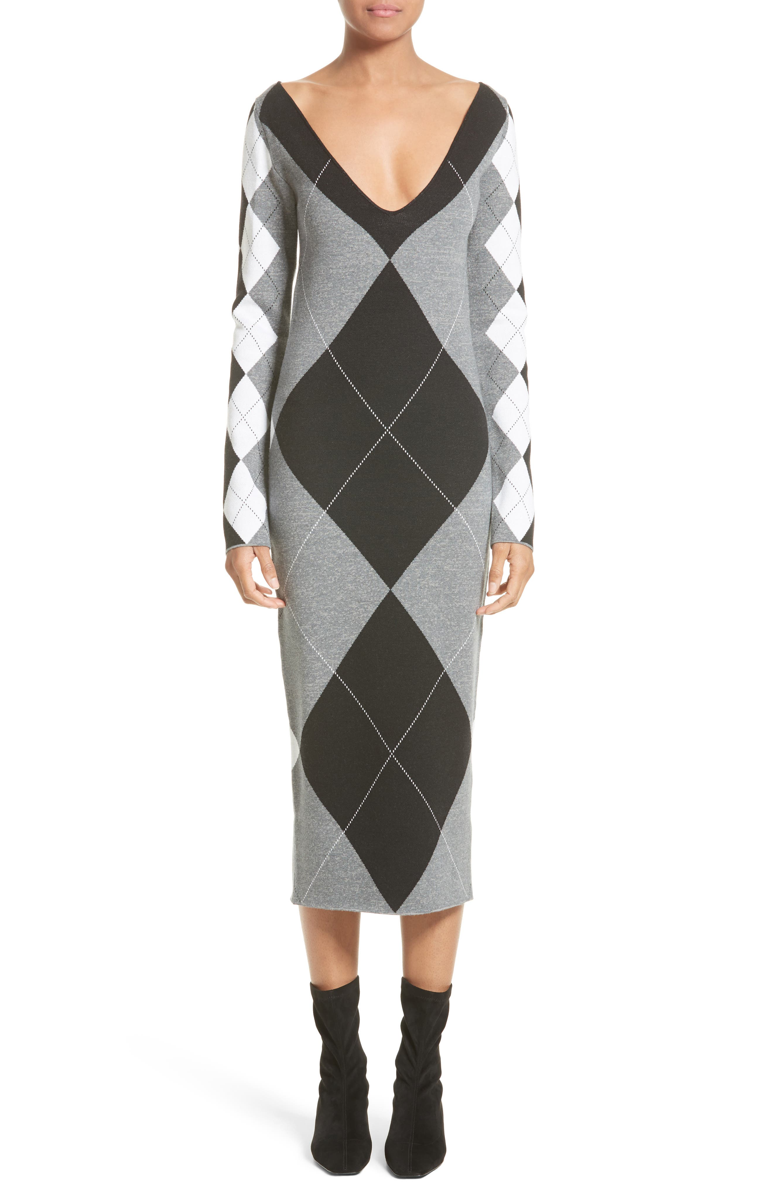 Argyle Sweater Dress,                         Main,                         color, Charcoal/ Black/ Ivory
