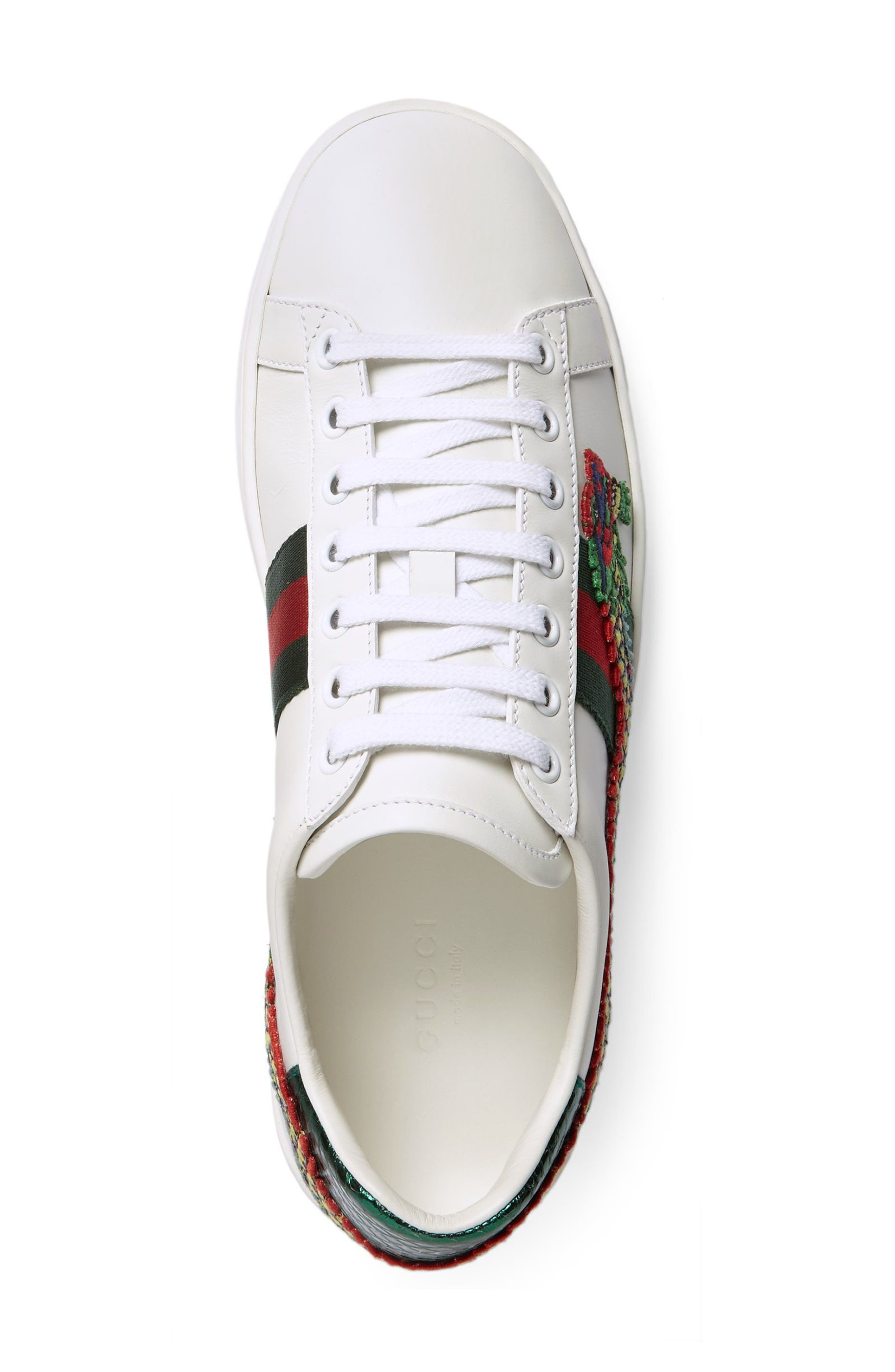 New Ace Dragon Sneaker,                             Alternate thumbnail 3, color,                             White Leather