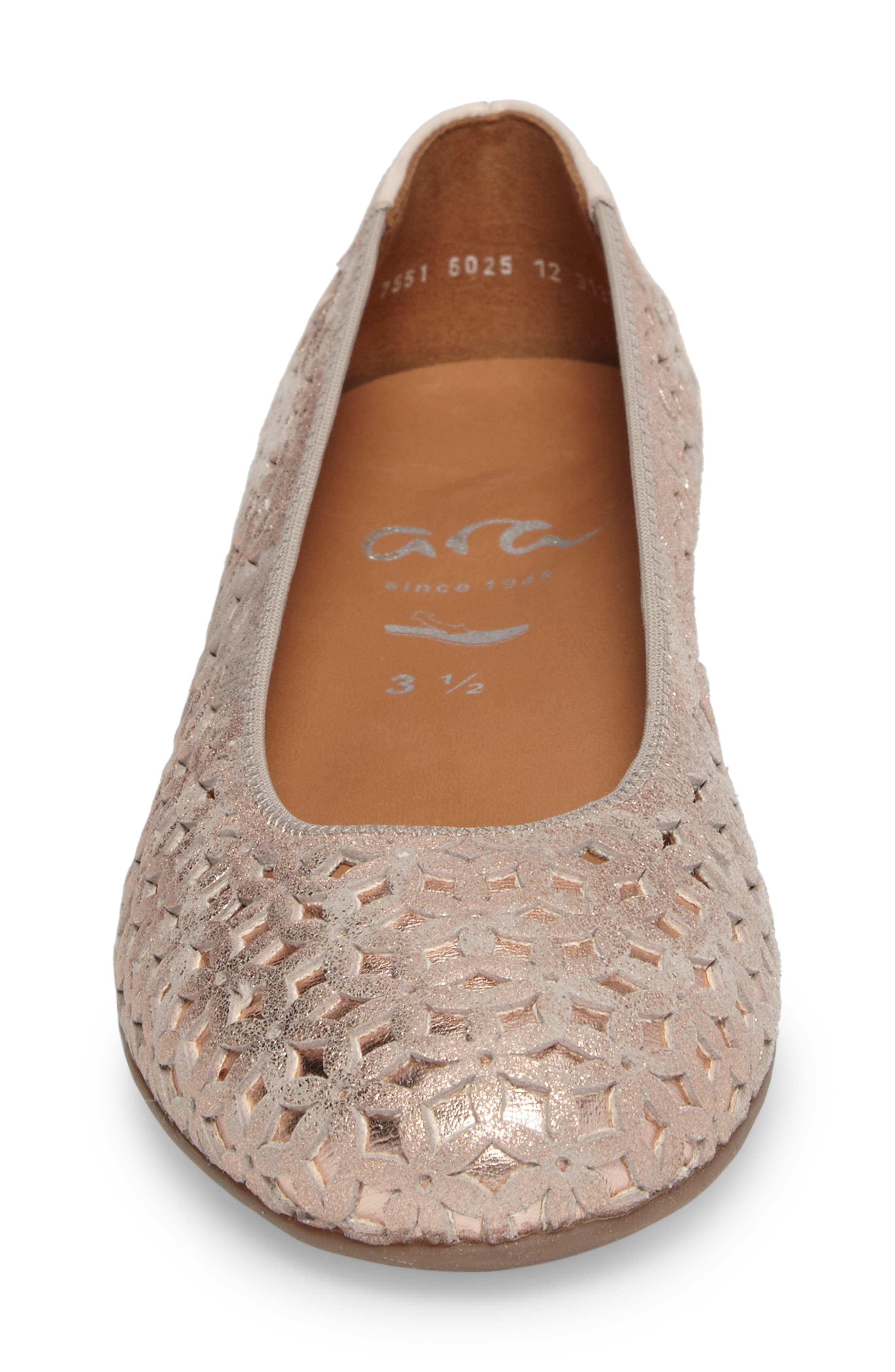 Stephanie Perforated Ballet Flat,                             Alternate thumbnail 4, color,                             Rose Gold Leather