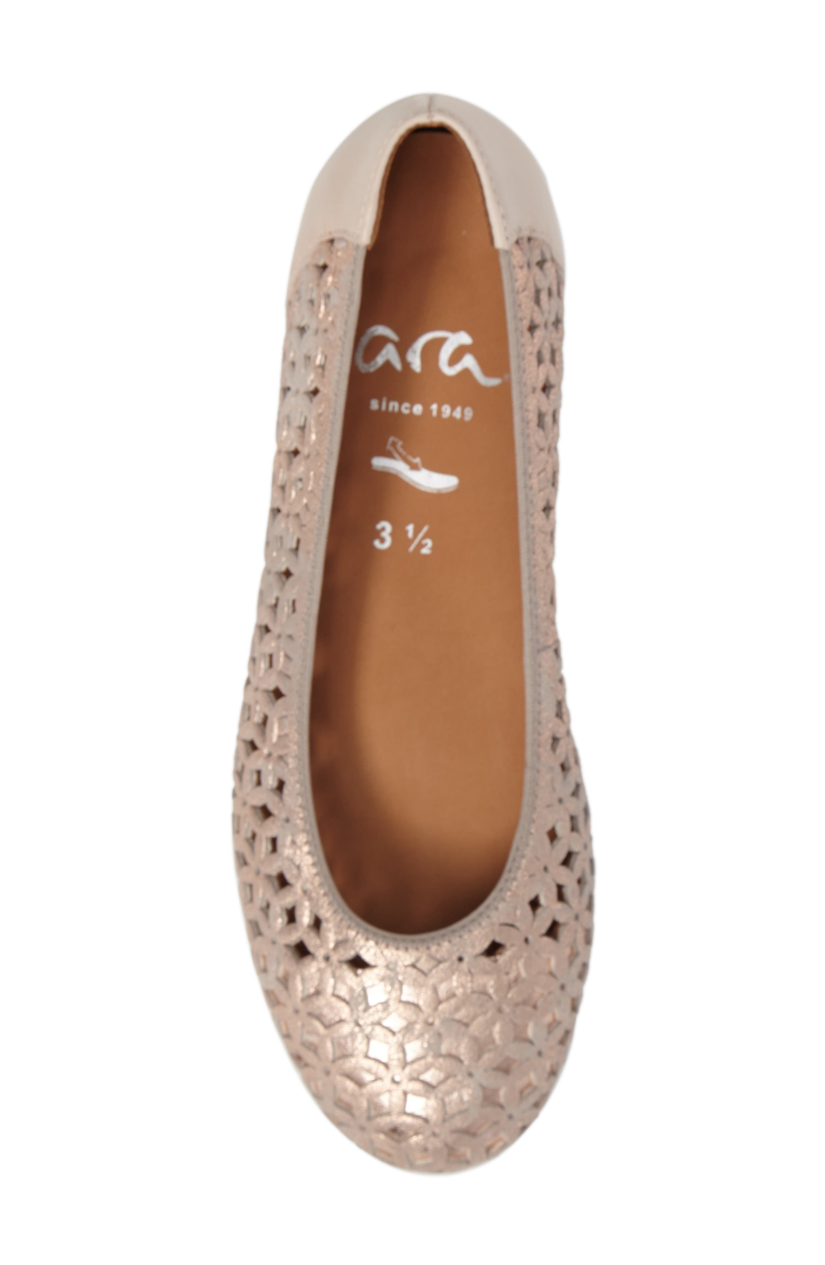 Stephanie Perforated Ballet Flat,                             Alternate thumbnail 5, color,                             Rose Gold Leather