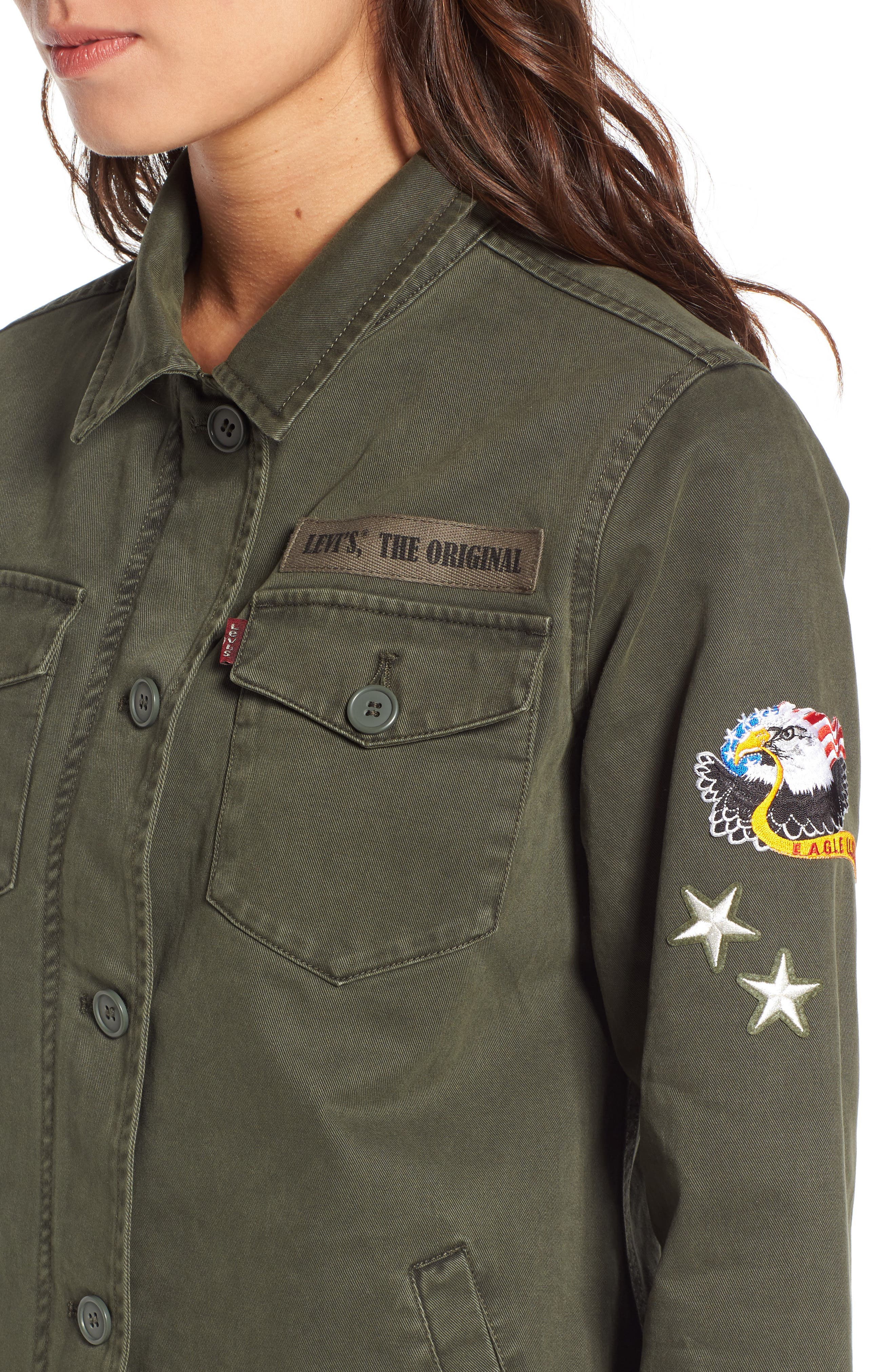 Cargo Jacket with Patches,                             Alternate thumbnail 4, color,                             Olive