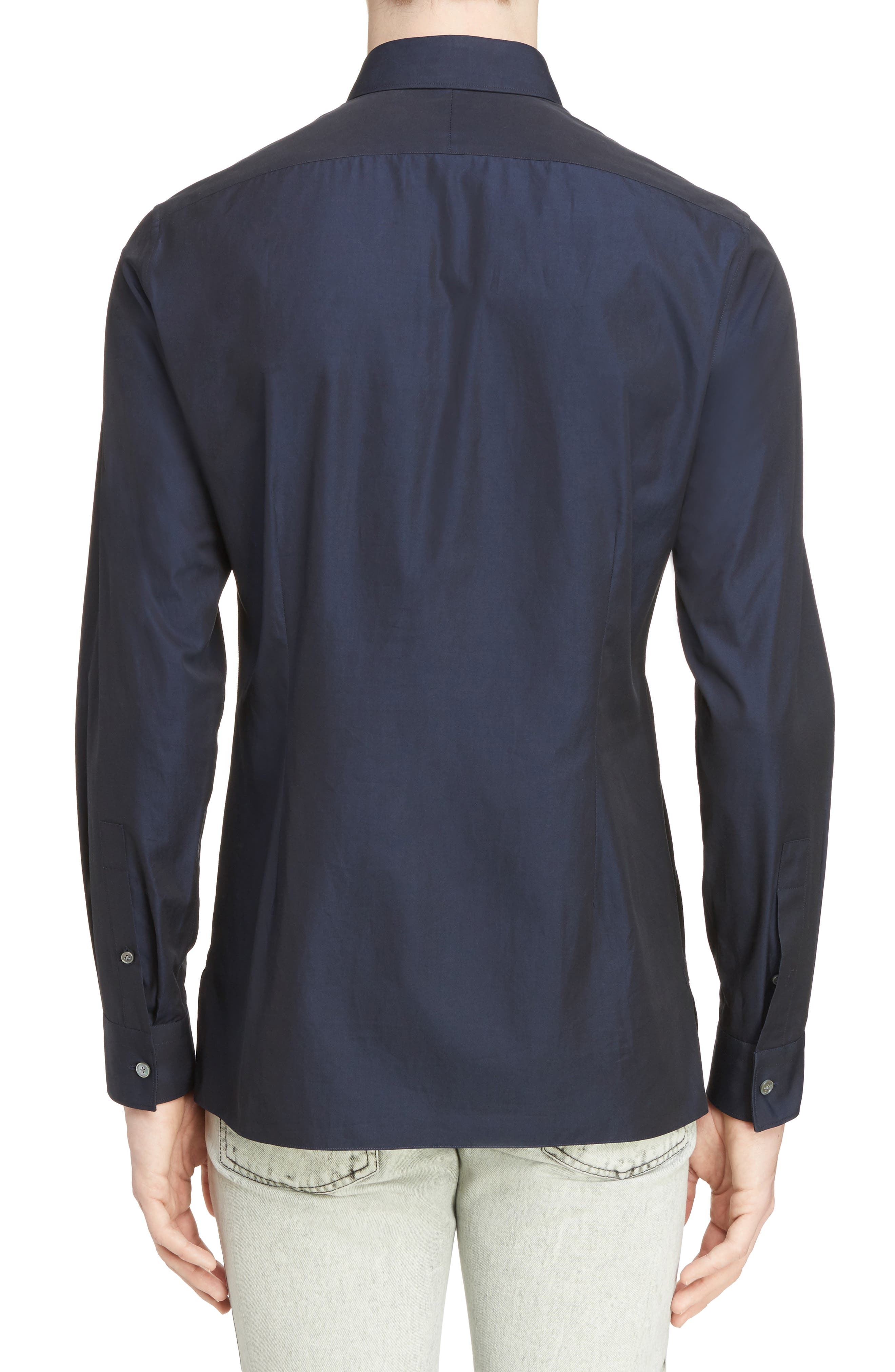Zigzag Embroidered Cotton & Silk Sport Shirt,                             Alternate thumbnail 2, color,                             Navy