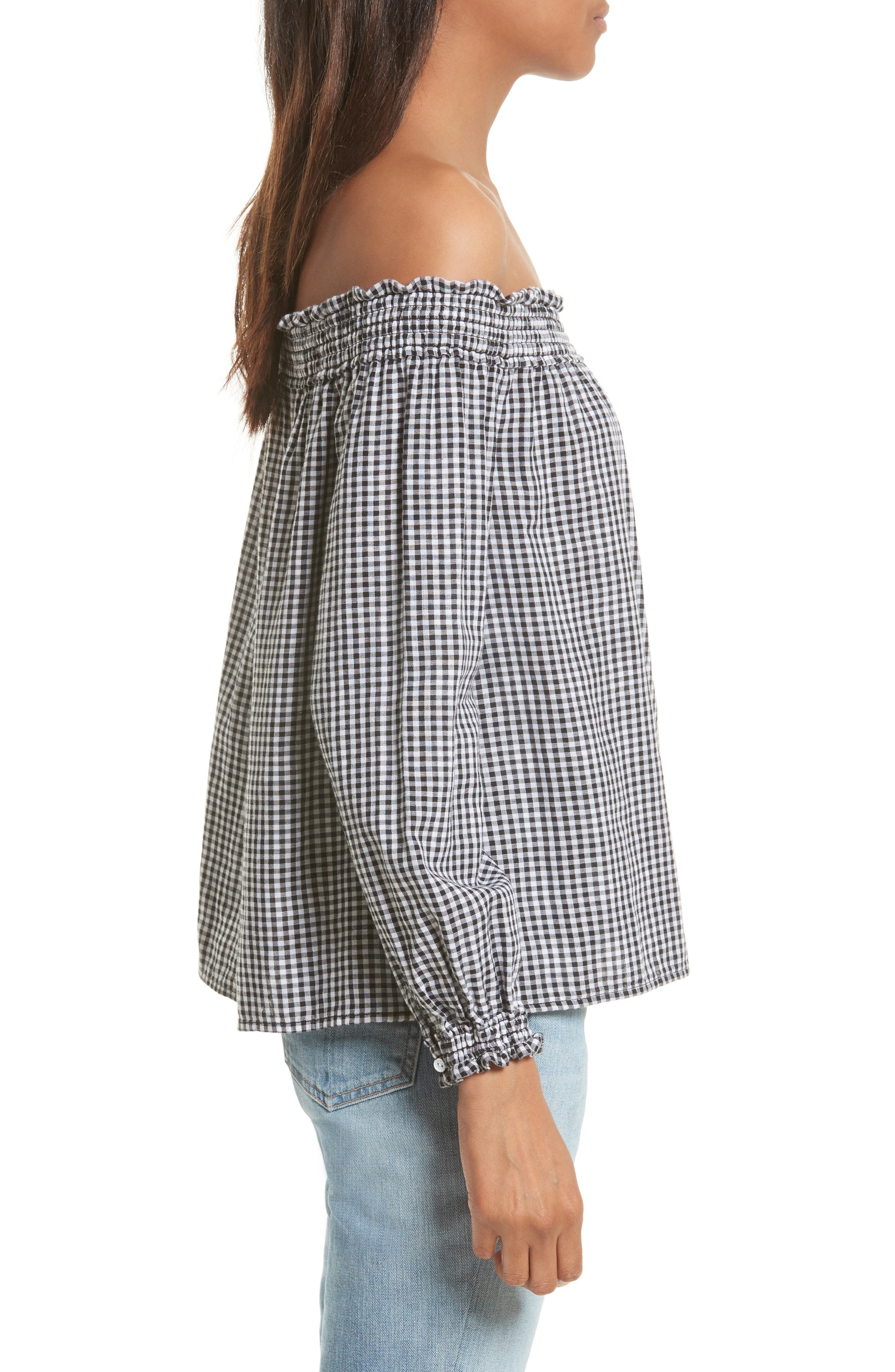 Drew Gingham Off the Shoulder Top,                             Alternate thumbnail 3, color,                             Black/ White