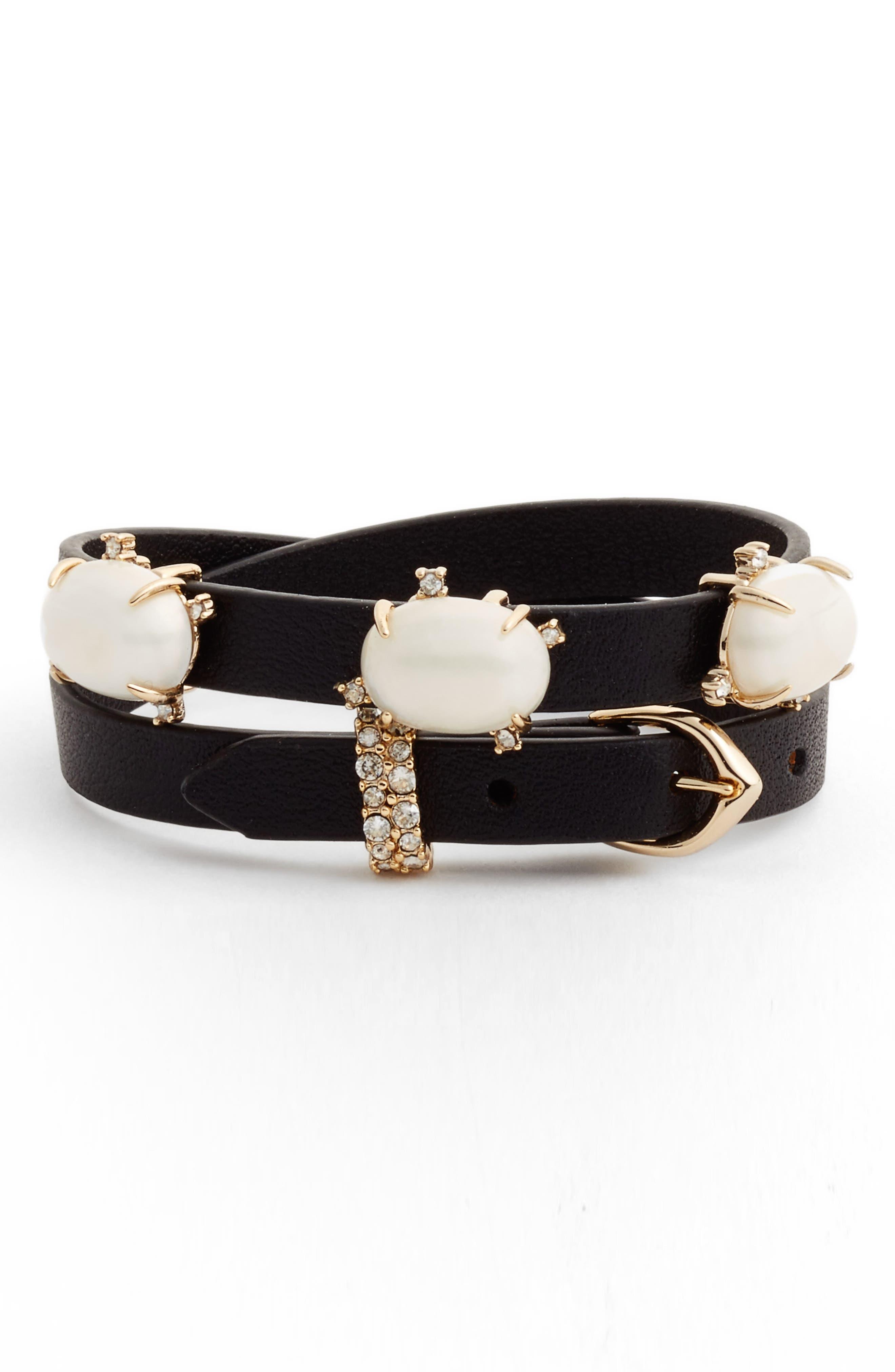 ALEXIS BITTAR Stone Leather Wrap Bracelet & Choker