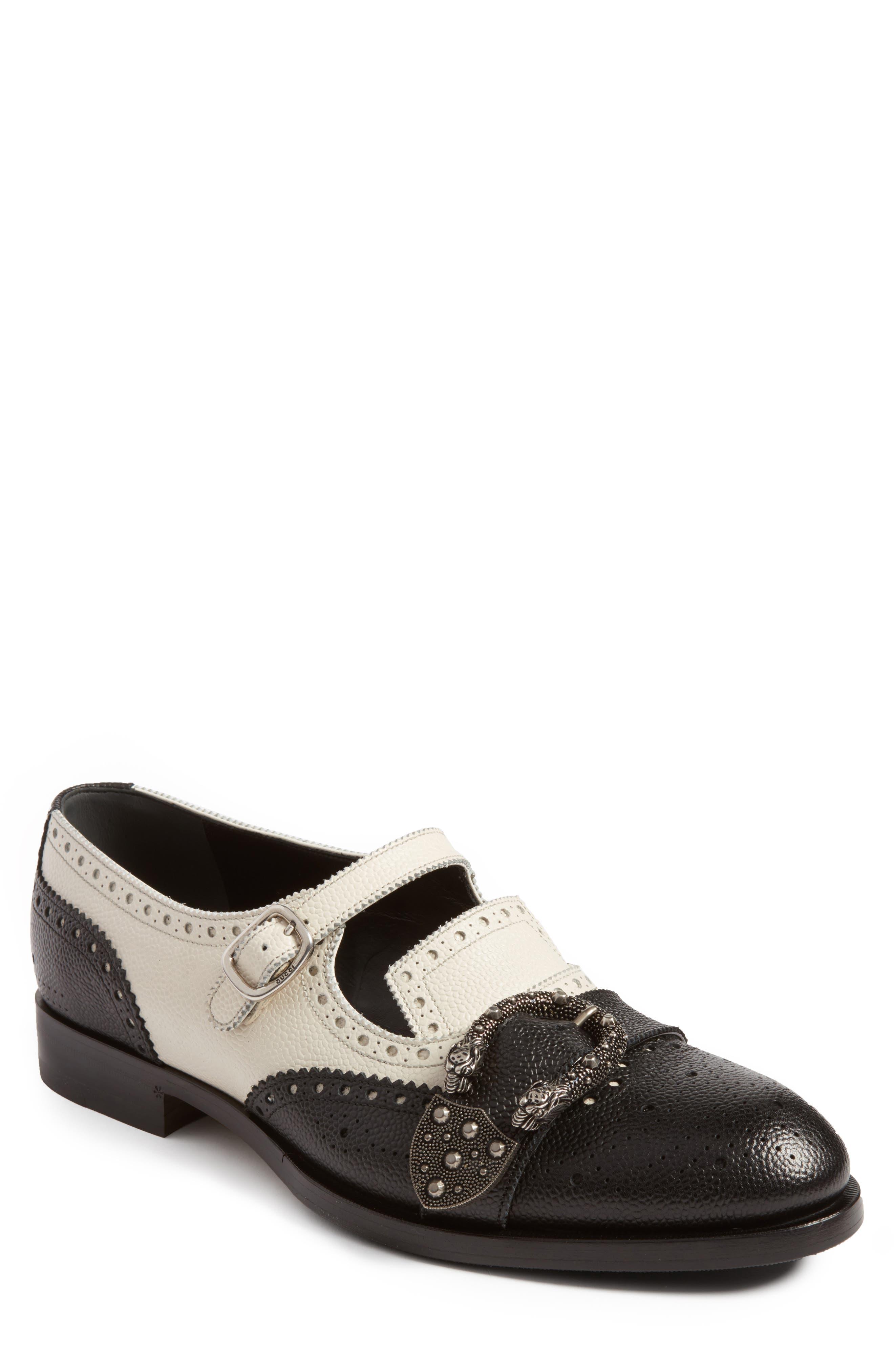 Queercore Brogue Monk Shoe,                         Main,                         color, Black White Multi
