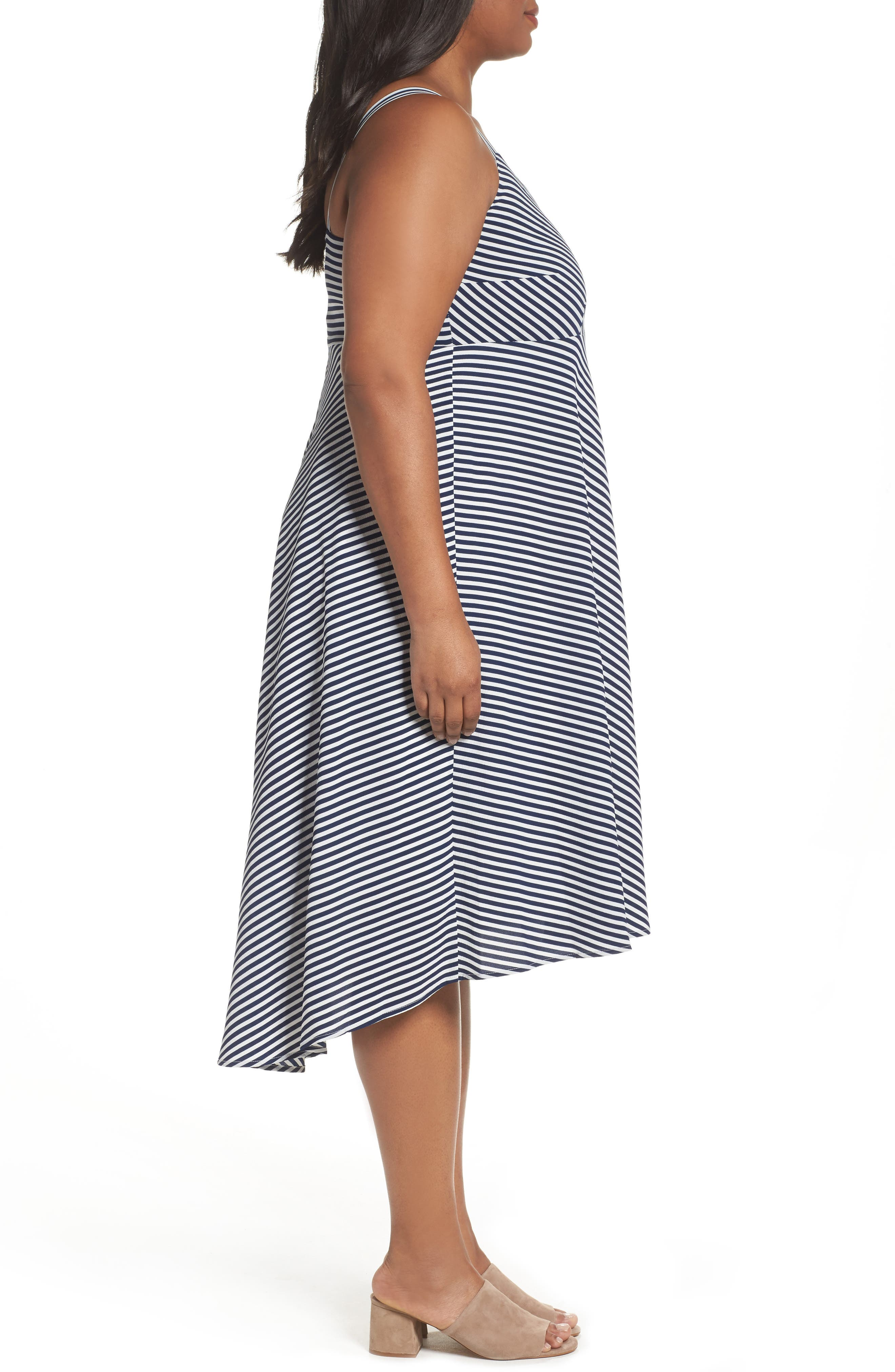 Stripe Midi Sundress,                             Alternate thumbnail 3, color,                             Navy/ Cream