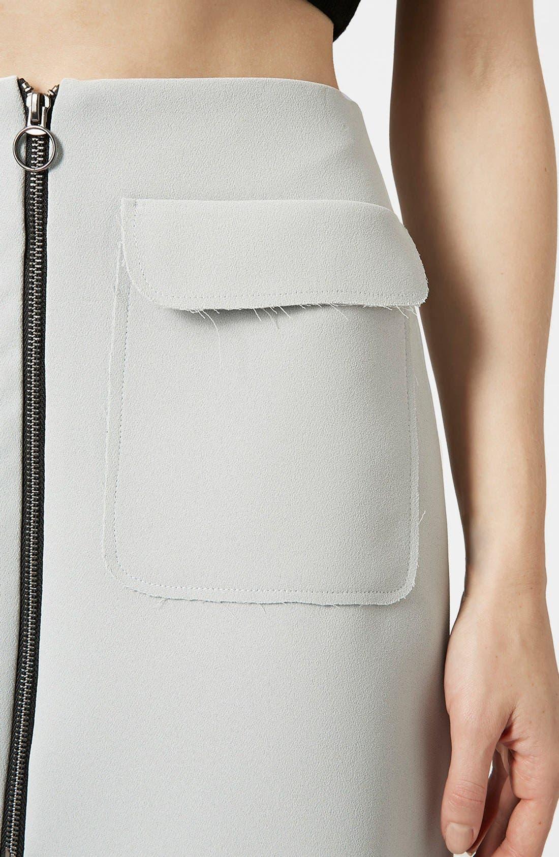 Alternate Image 4  - Topshop Distressed Crepe A-Line Skirt