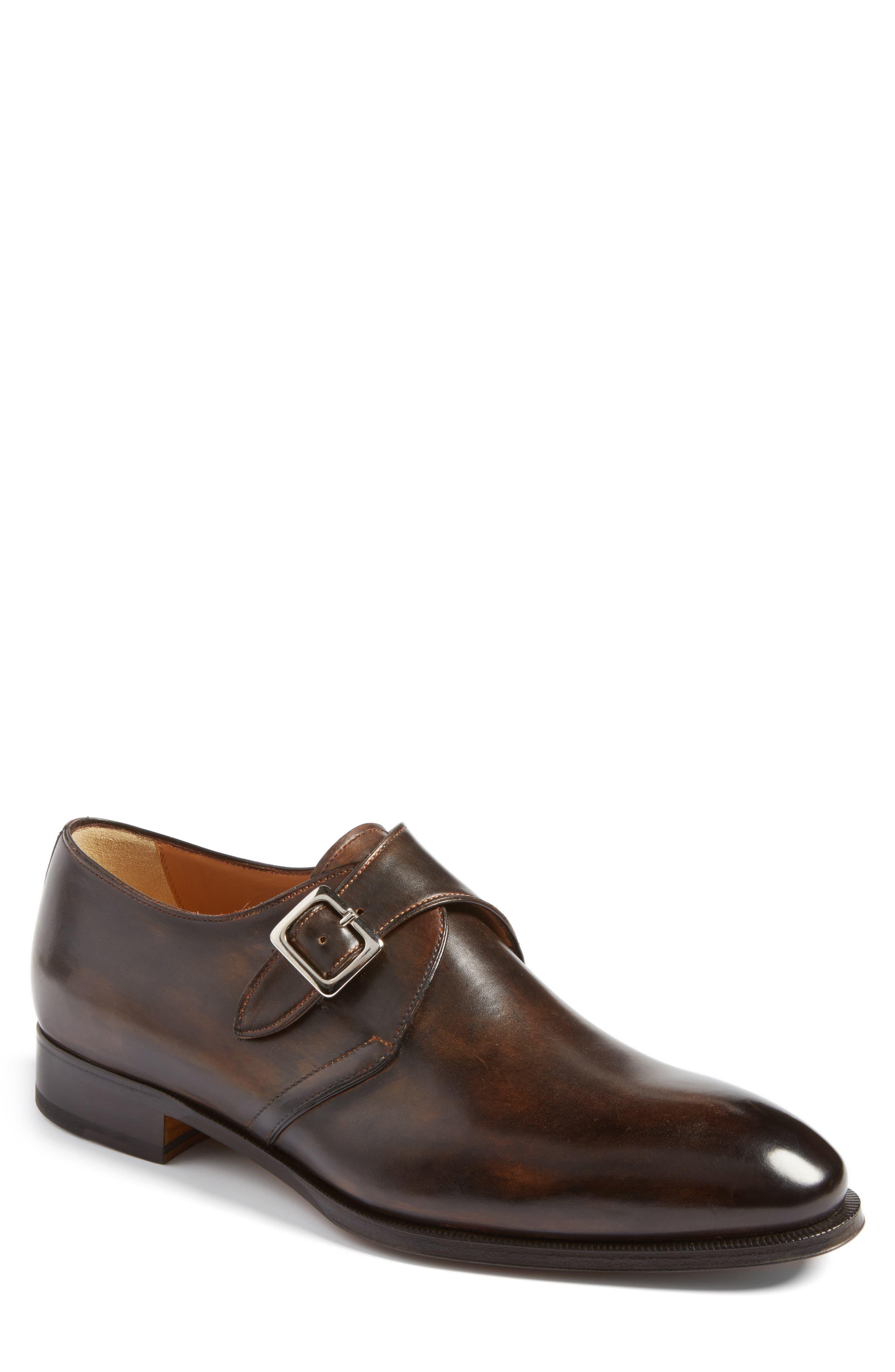 Monk Strap Shoe,                         Main,                         color, Brown
