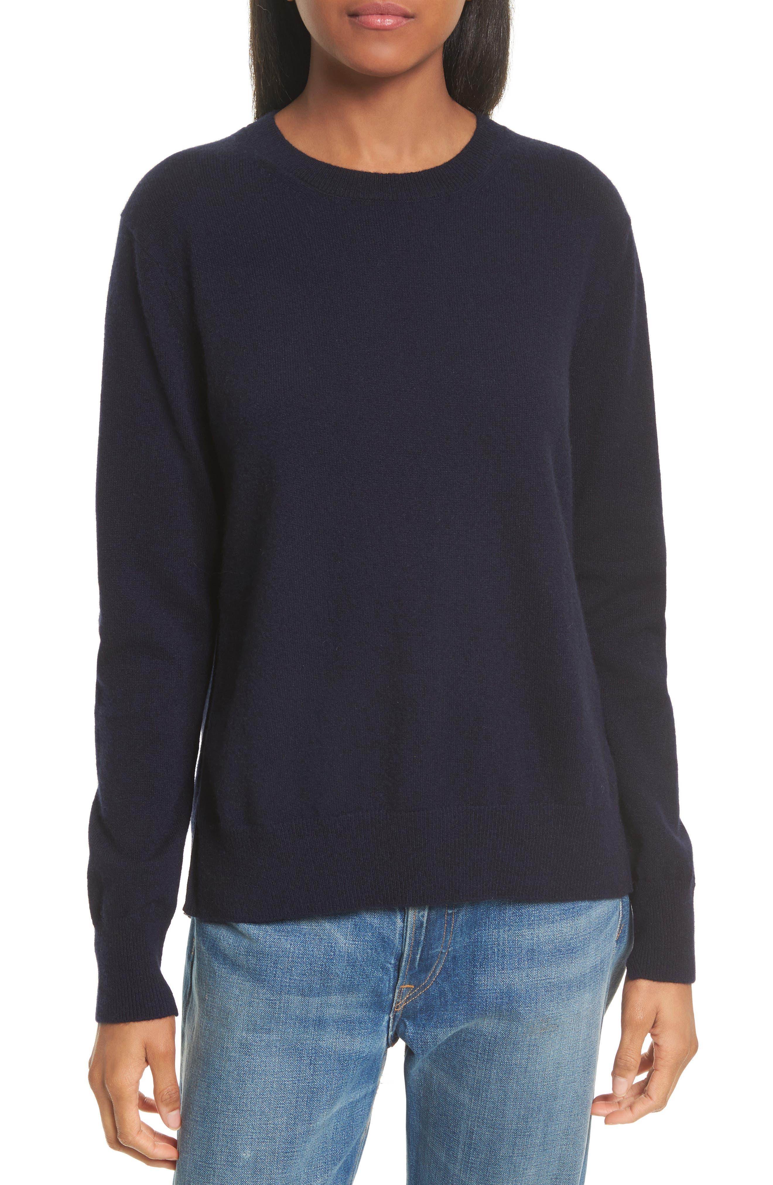 Cashmere Step Hem Sweater,                             Main thumbnail 1, color,                             Coastal