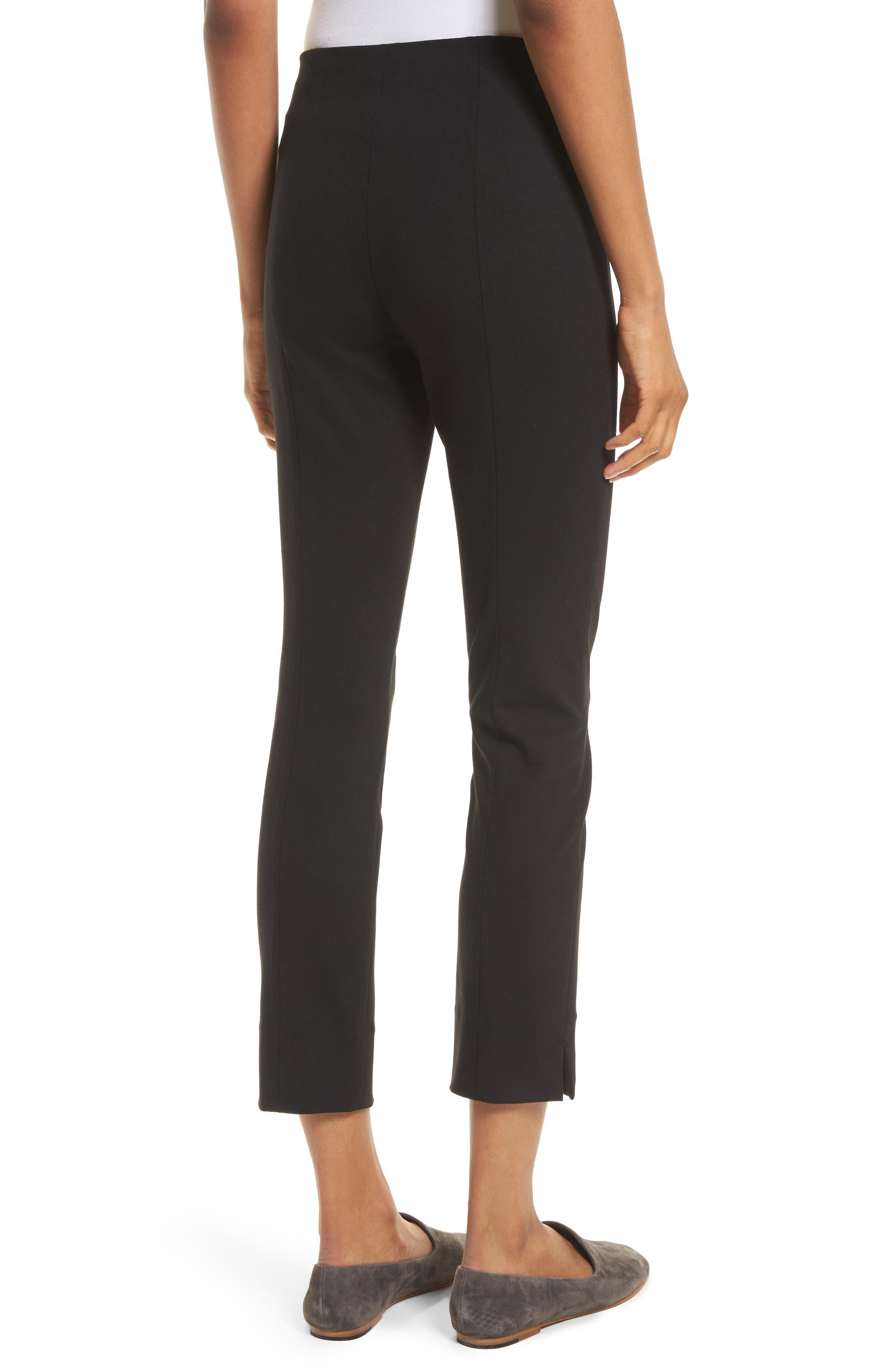 Crop Stretch Knit Trousers,                             Alternate thumbnail 2, color,                             Black