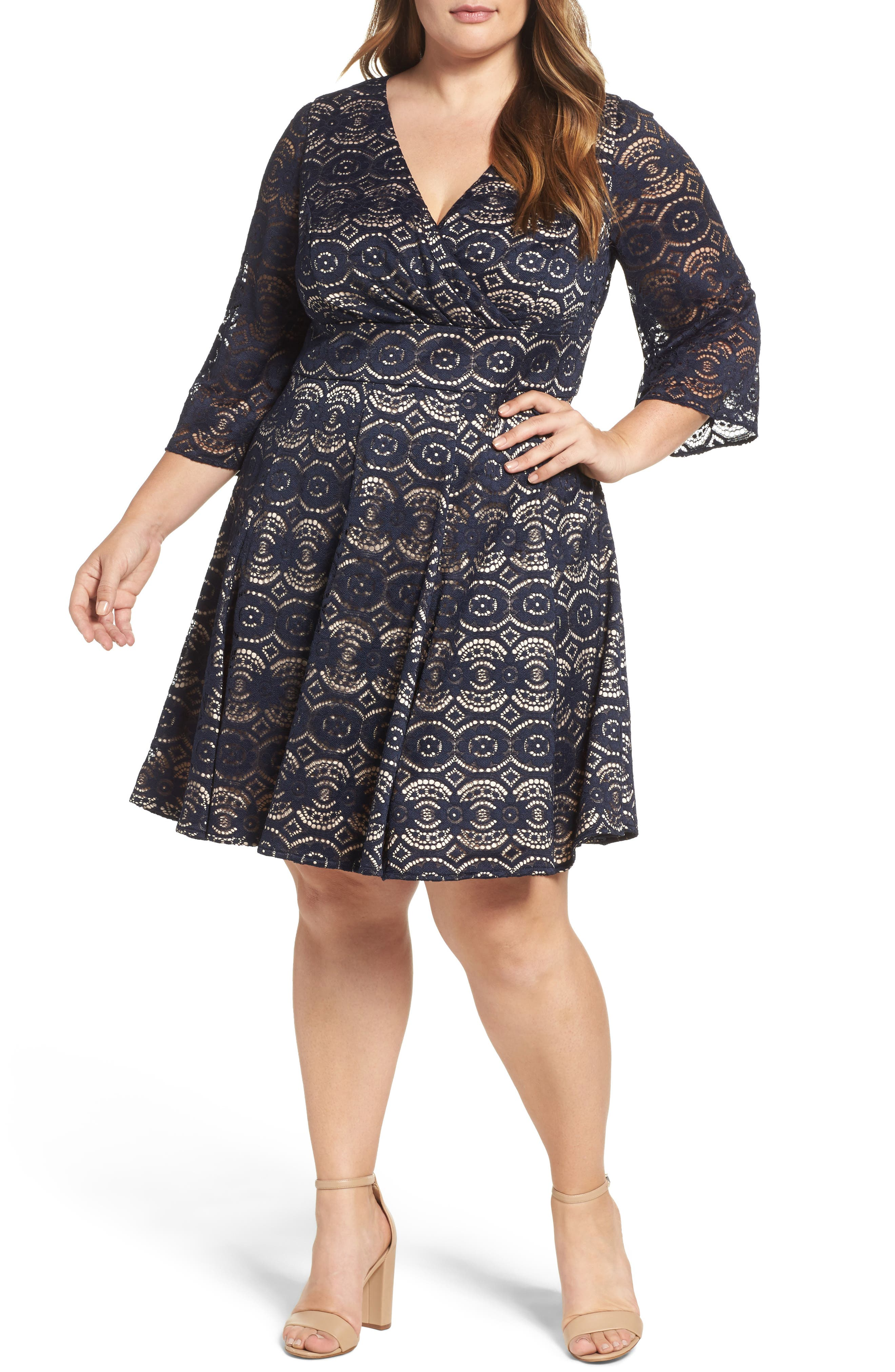Bell Sleeve Lace Fit & Flare Dress,                         Main,                         color, Navy