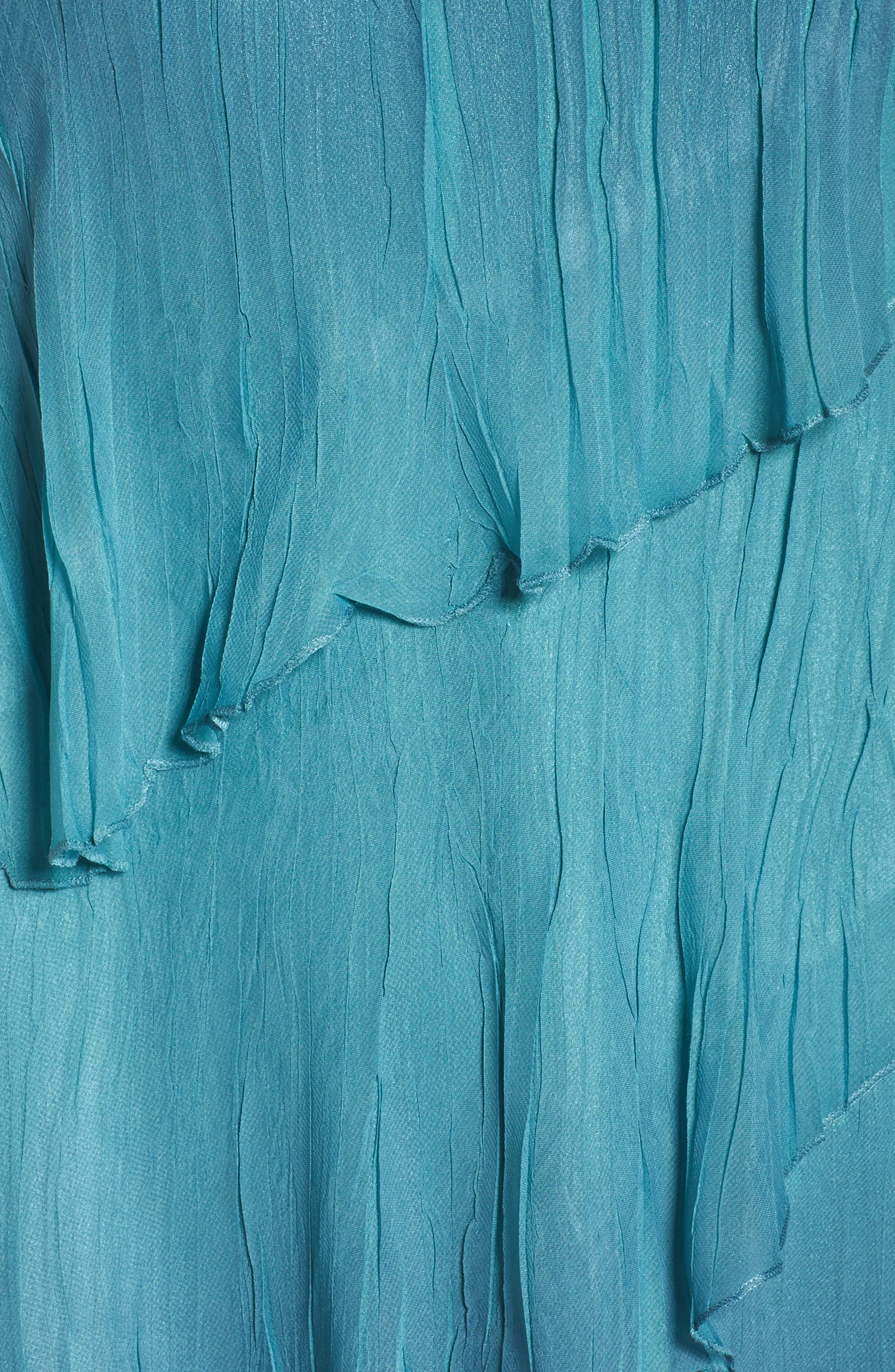 Tiered Chiffon Shift Dress with Shawl,                             Alternate thumbnail 5, color,                             Marine Night Ombre