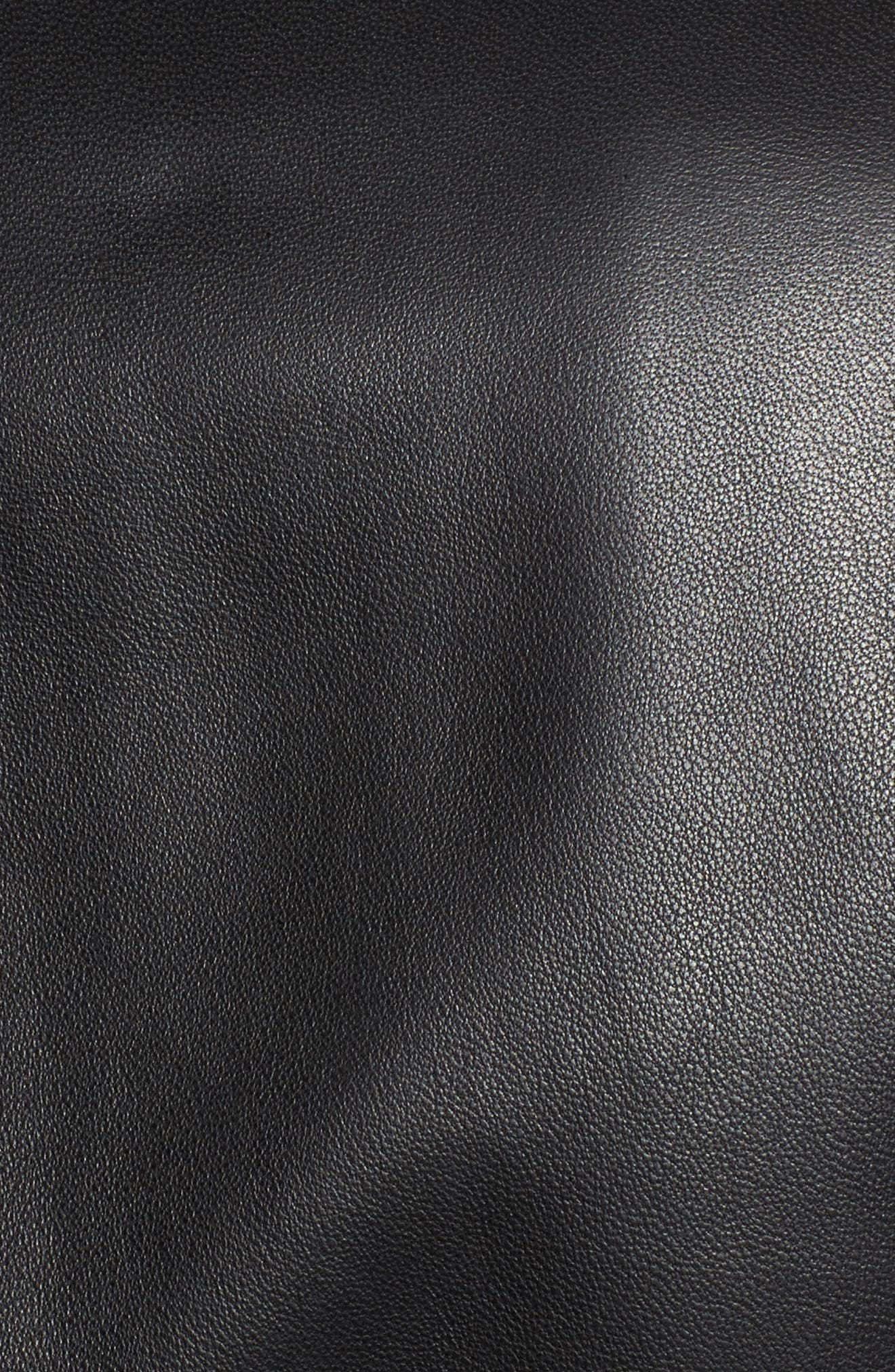 Lambskin Leather Scuba Jacket,                             Alternate thumbnail 5, color,                             Black