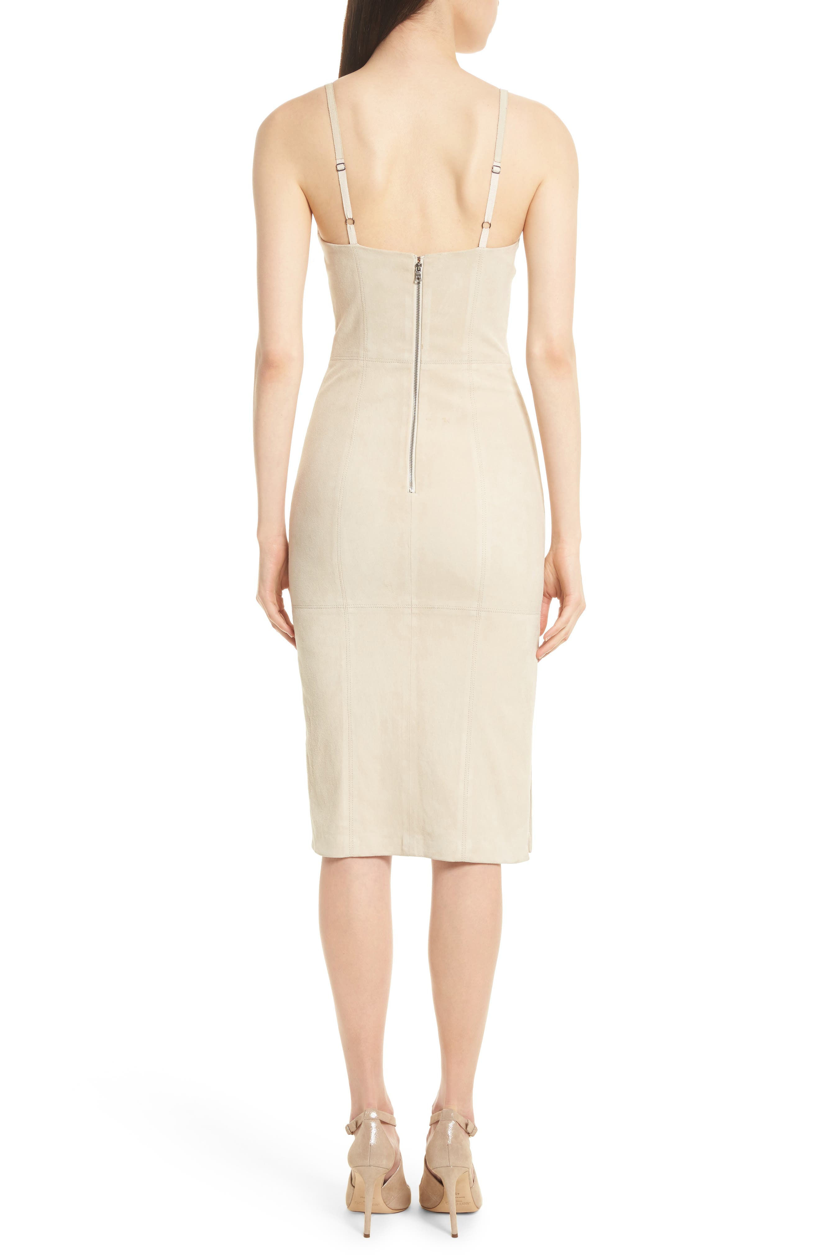 Rochell Suede Sheath Dress,                             Alternate thumbnail 2, color,                             Champagne