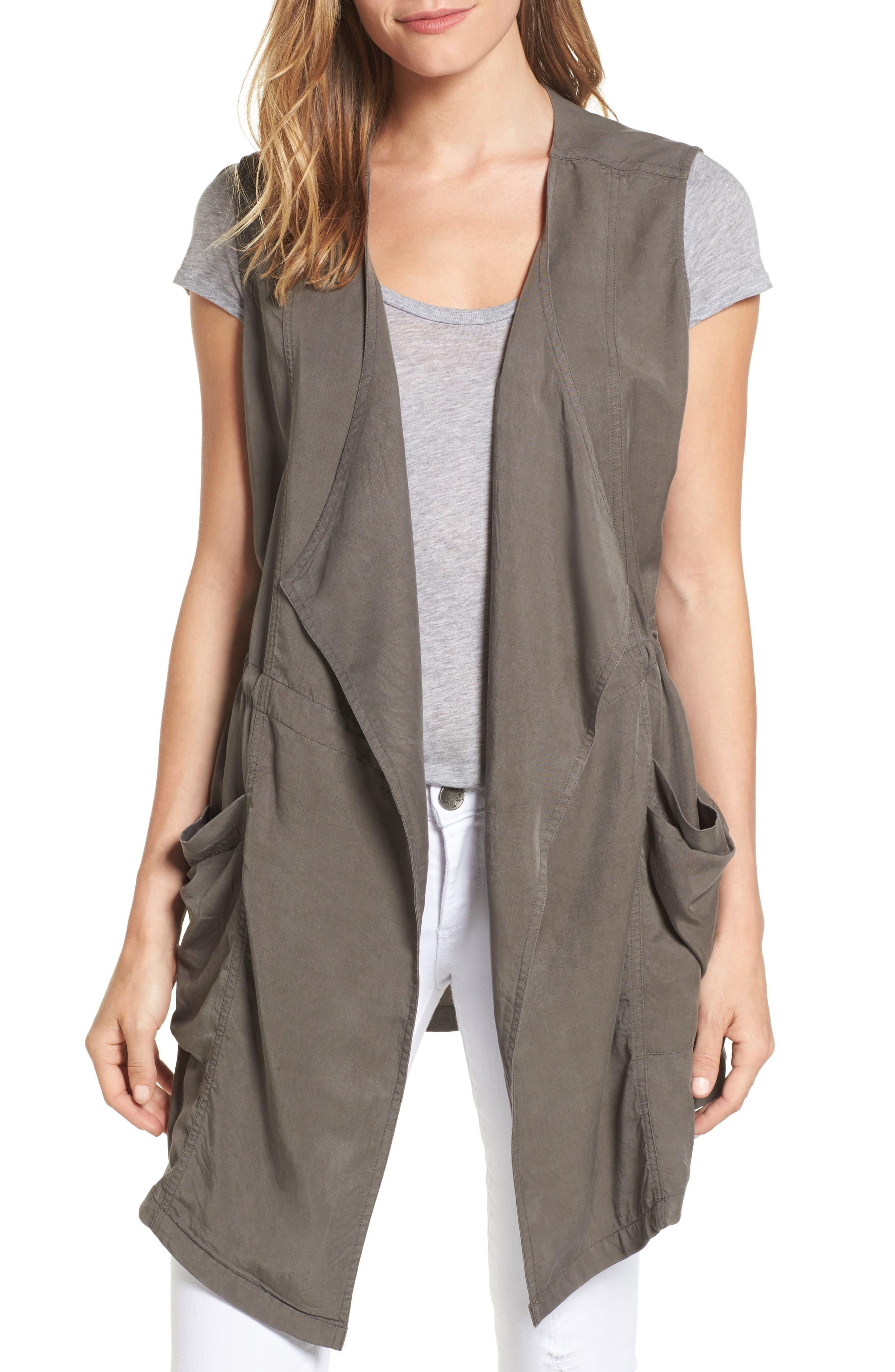 Drape Front Utility Vest,                         Main,                         color, Olive