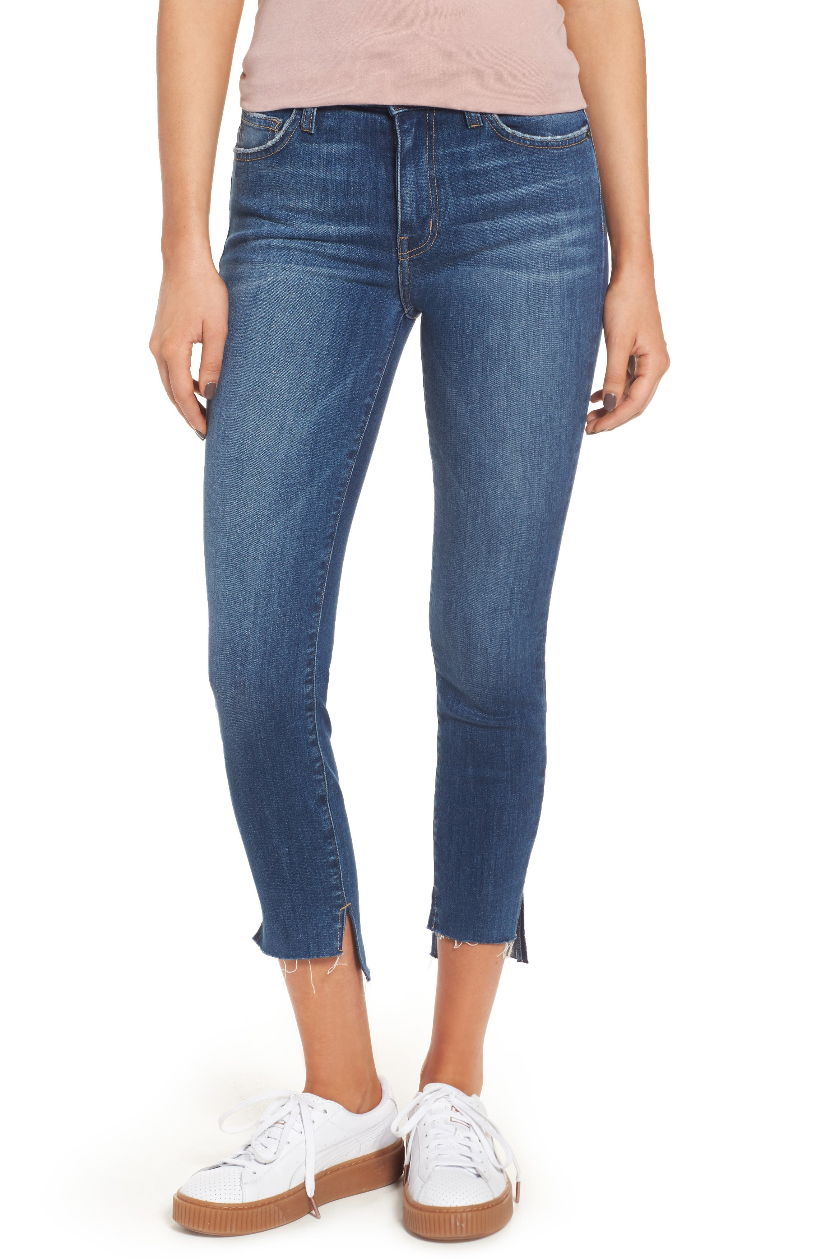 The Stiletto High Waist Skinny Jeans,                         Main,                         color, Divina W/ Uneven Hem