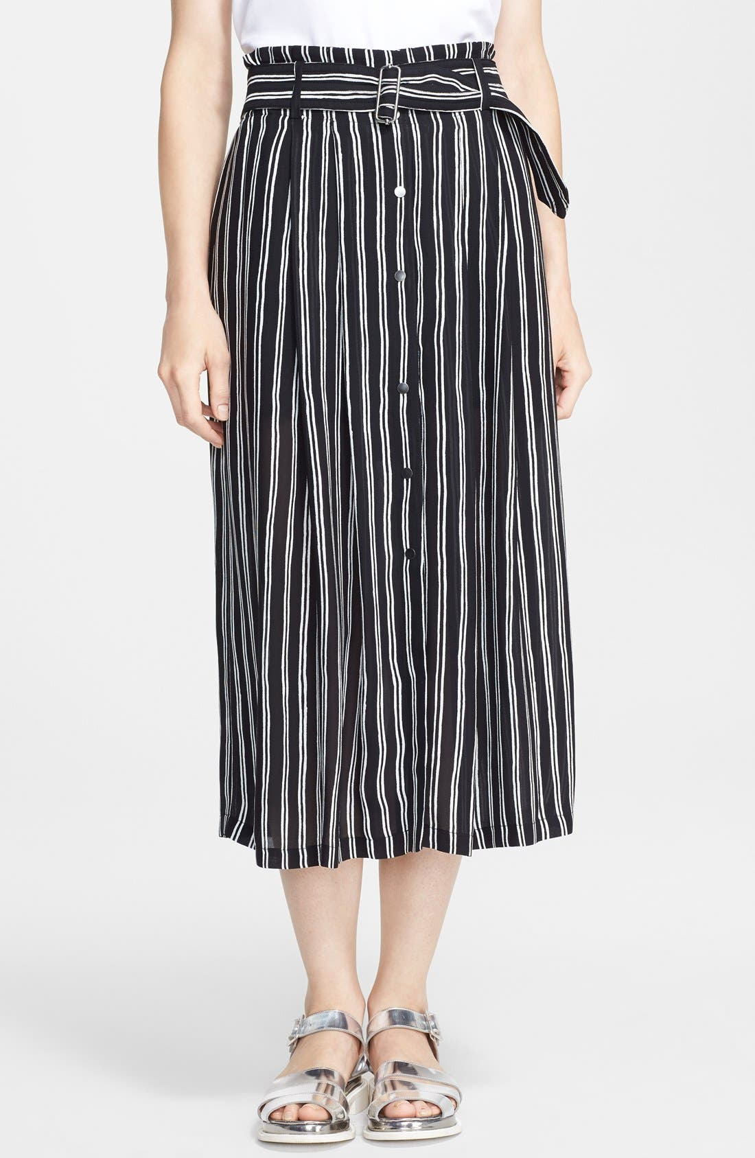 Main Image - A.L.C. 'McDermott' Stripe Silk Midi Skirt