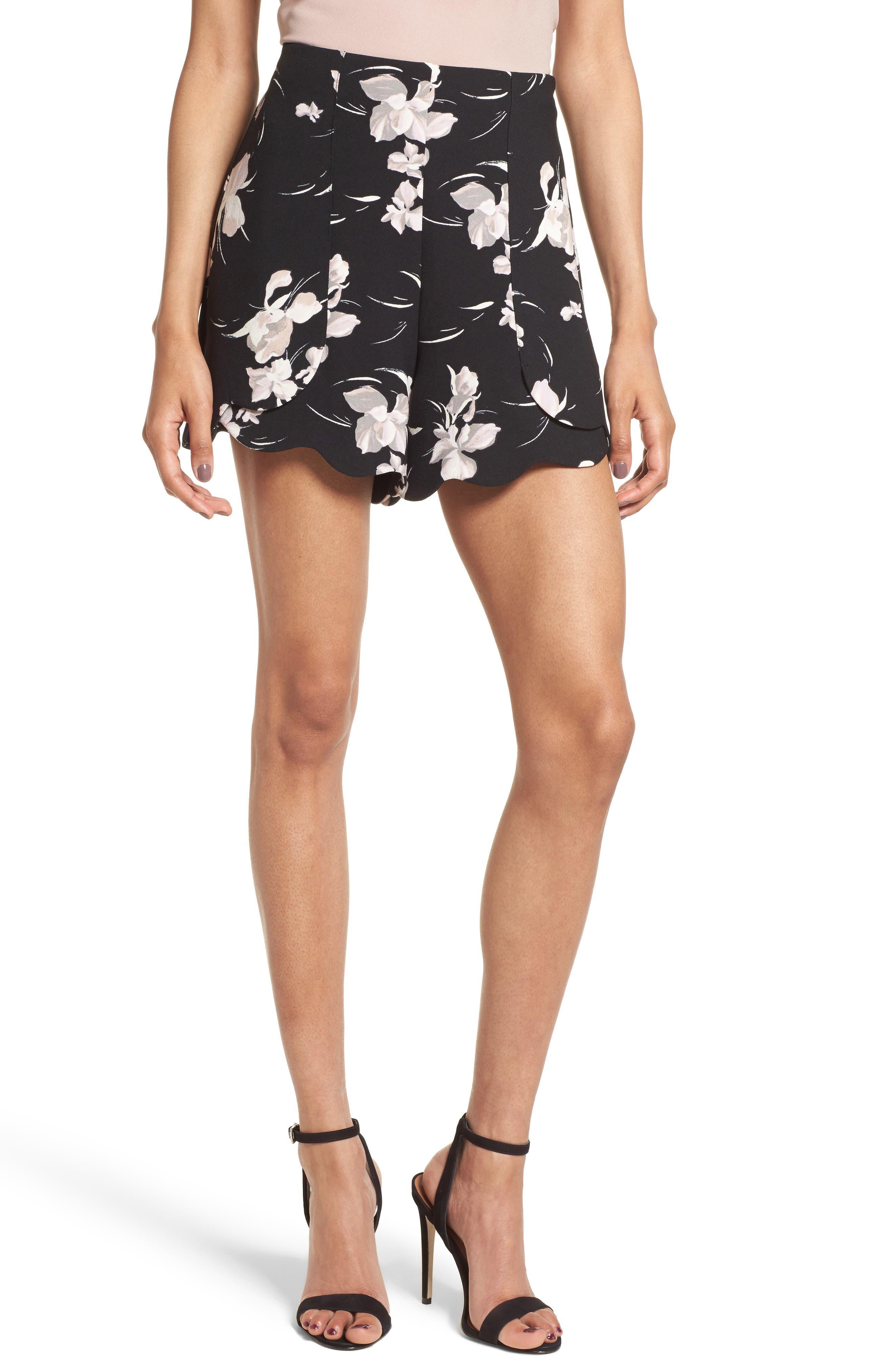 Scallop Hem Shorts,                         Main,                         color, Black Bloomsbury Floral