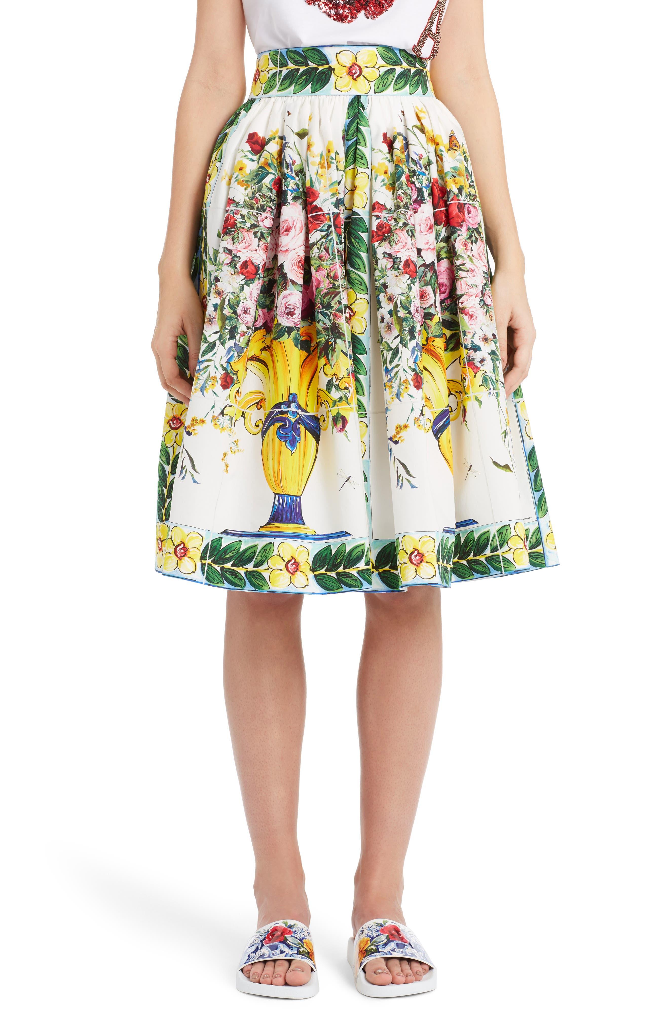 Pleated Cotton Poplin Skirt,                         Main,                         color, Maioliche Prnt