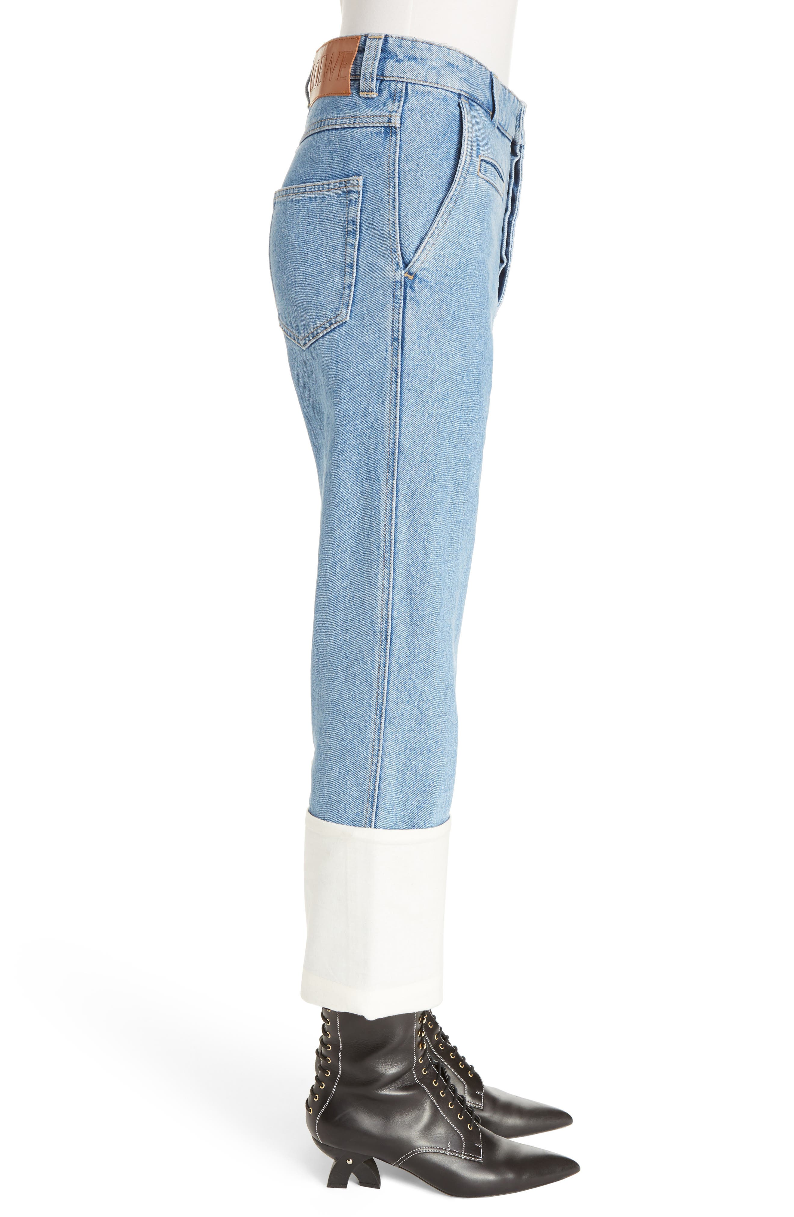 Fisherman Cuffed Jeans,                             Alternate thumbnail 4, color,                             Blue