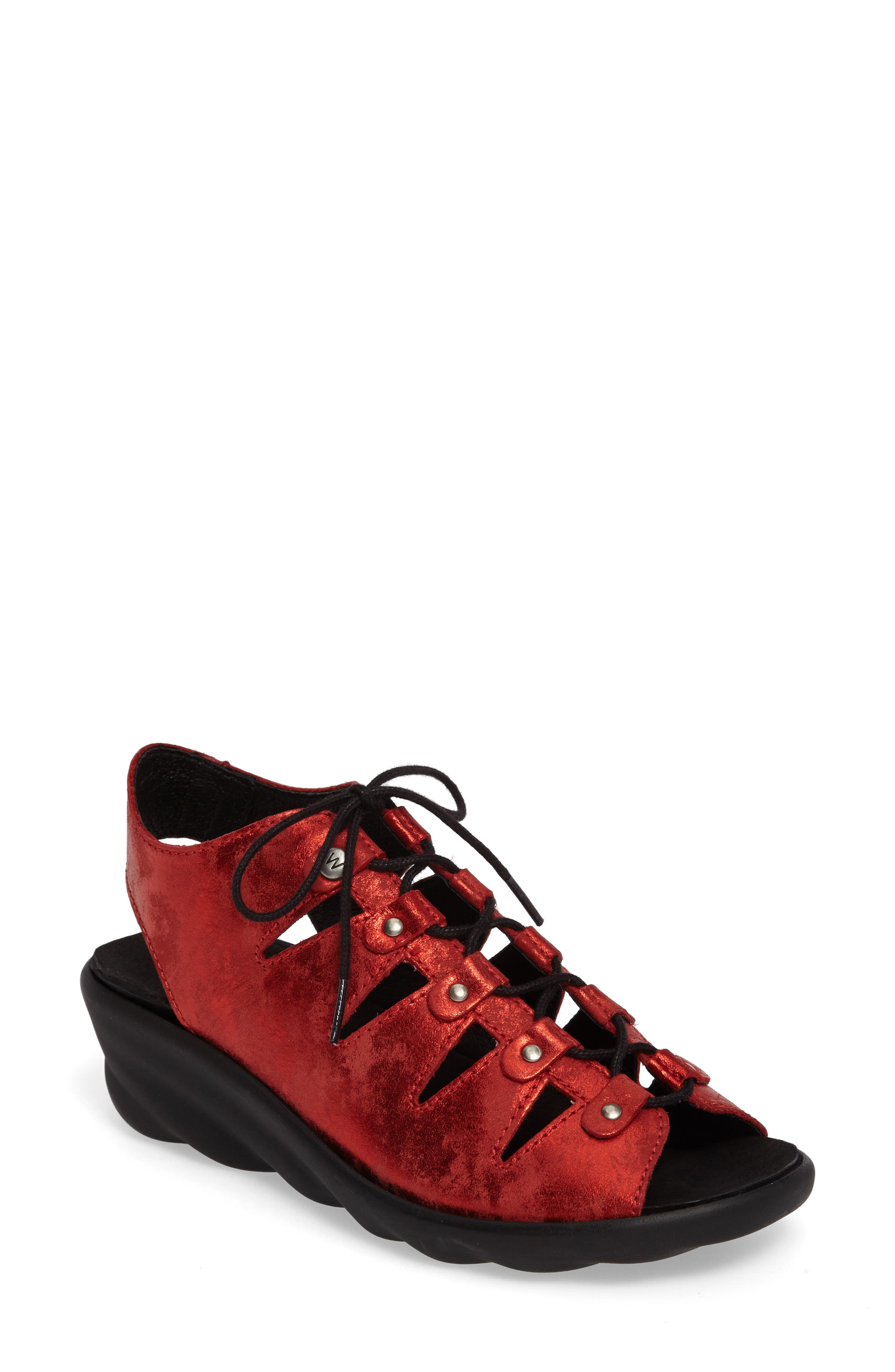 Arena Sandal,                             Main thumbnail 1, color,                             Red Nubuck Leather