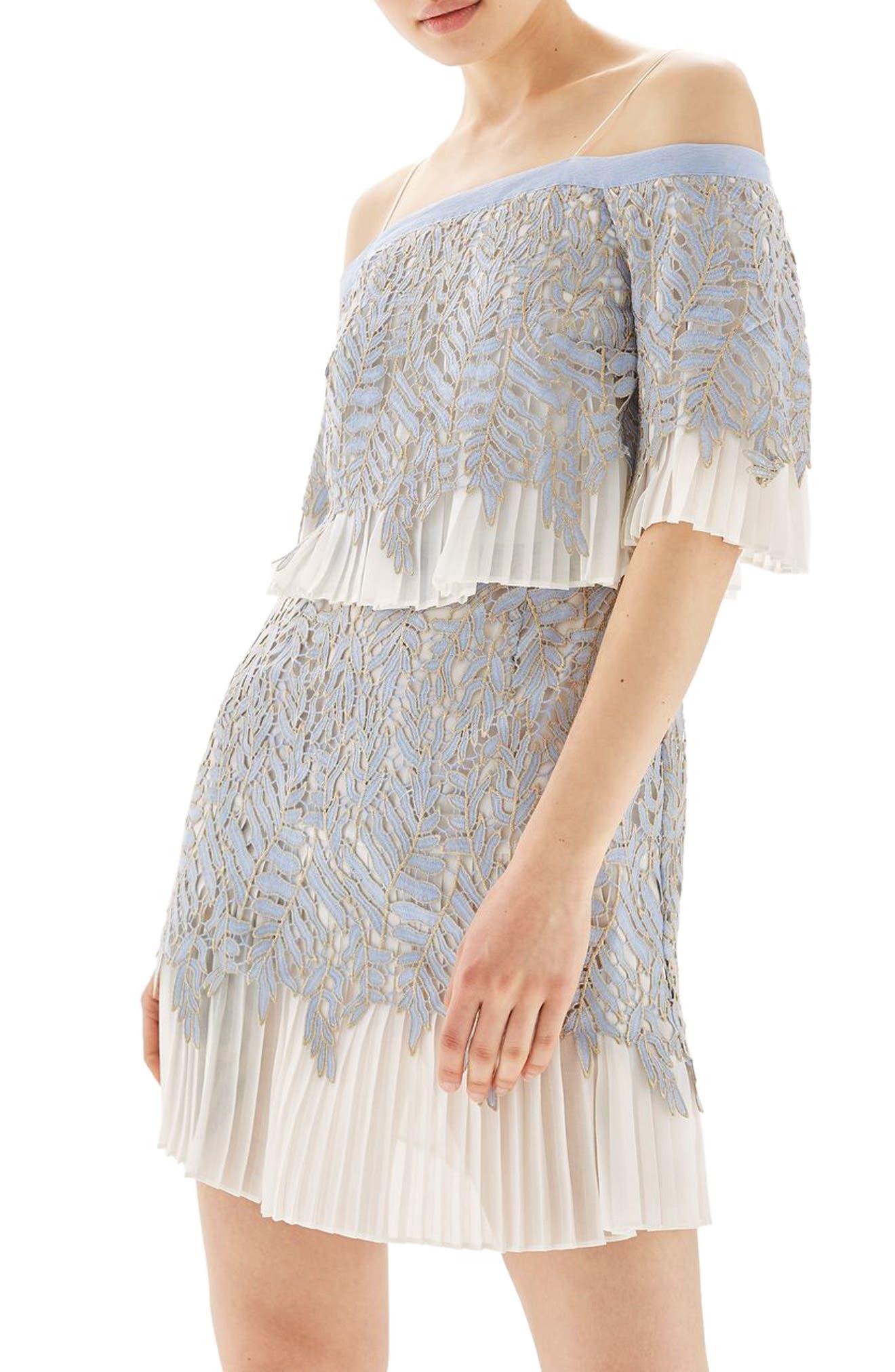 Alternate Image 1 Selected - Topshop Bardot Leaf Pleat Minidress