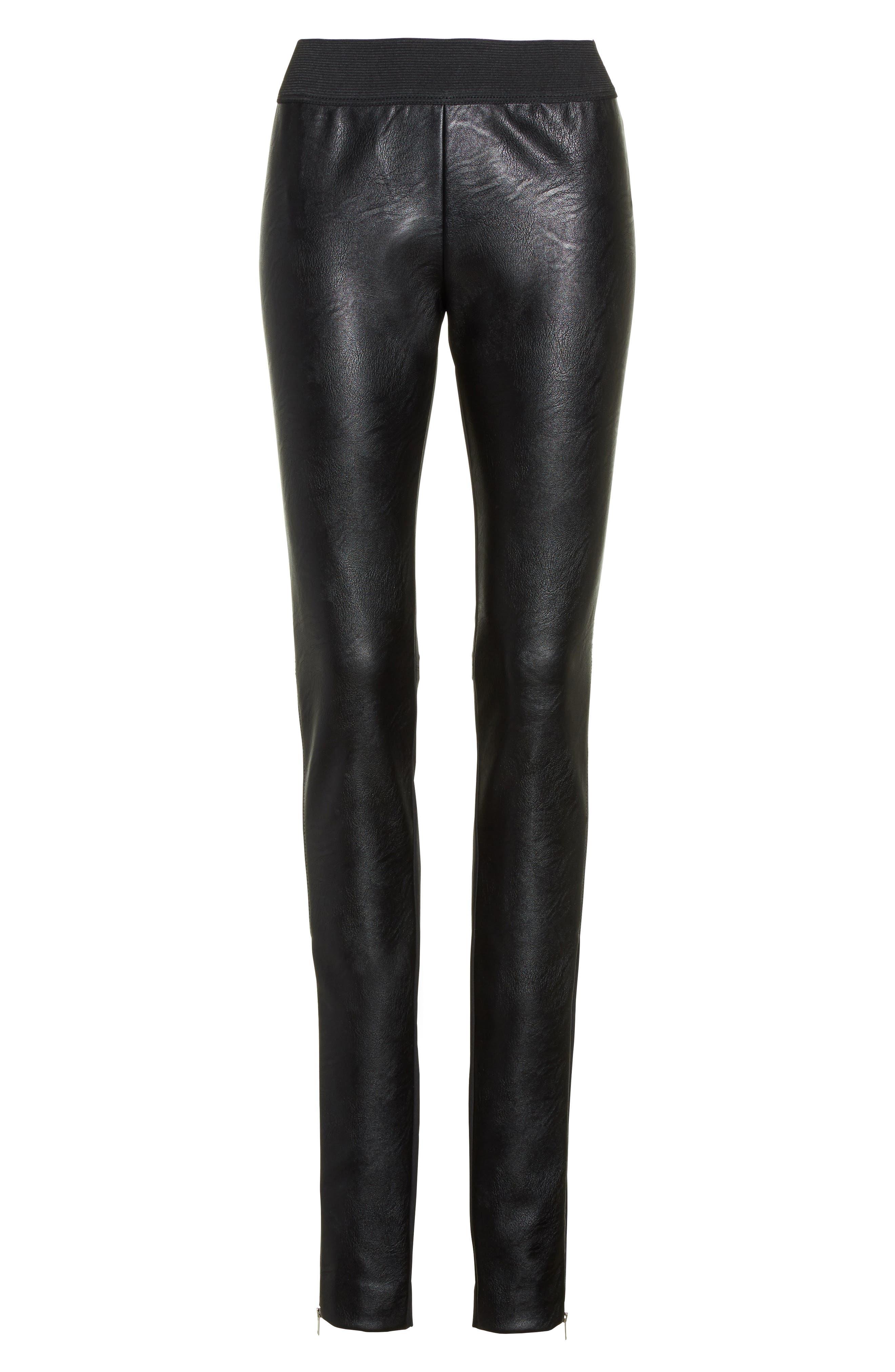 Faux Leather Stretch Leggings,                             Alternate thumbnail 4, color,                             Black