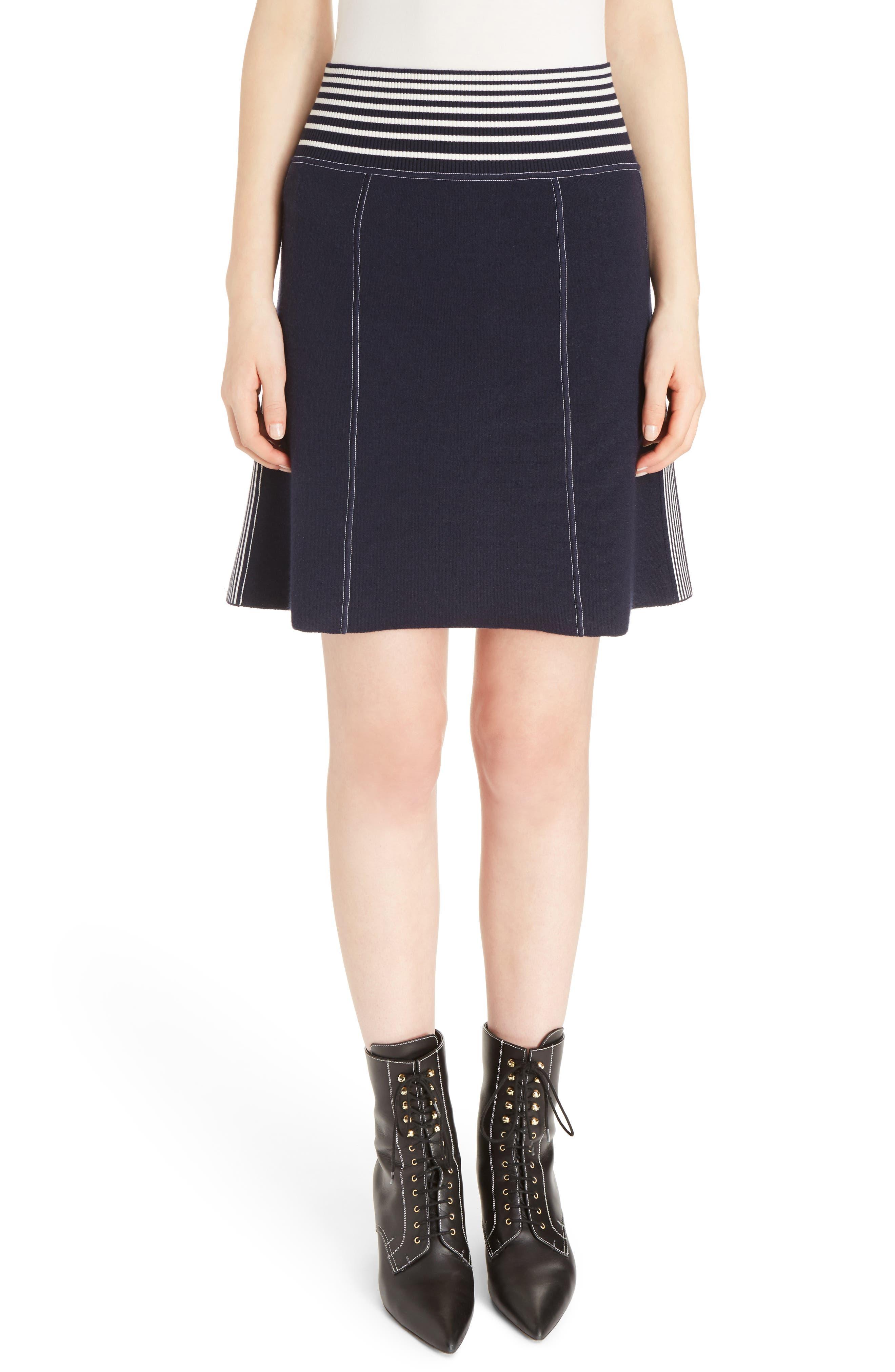 Stripe Knit Skirt,                         Main,                         color, Navy/ White