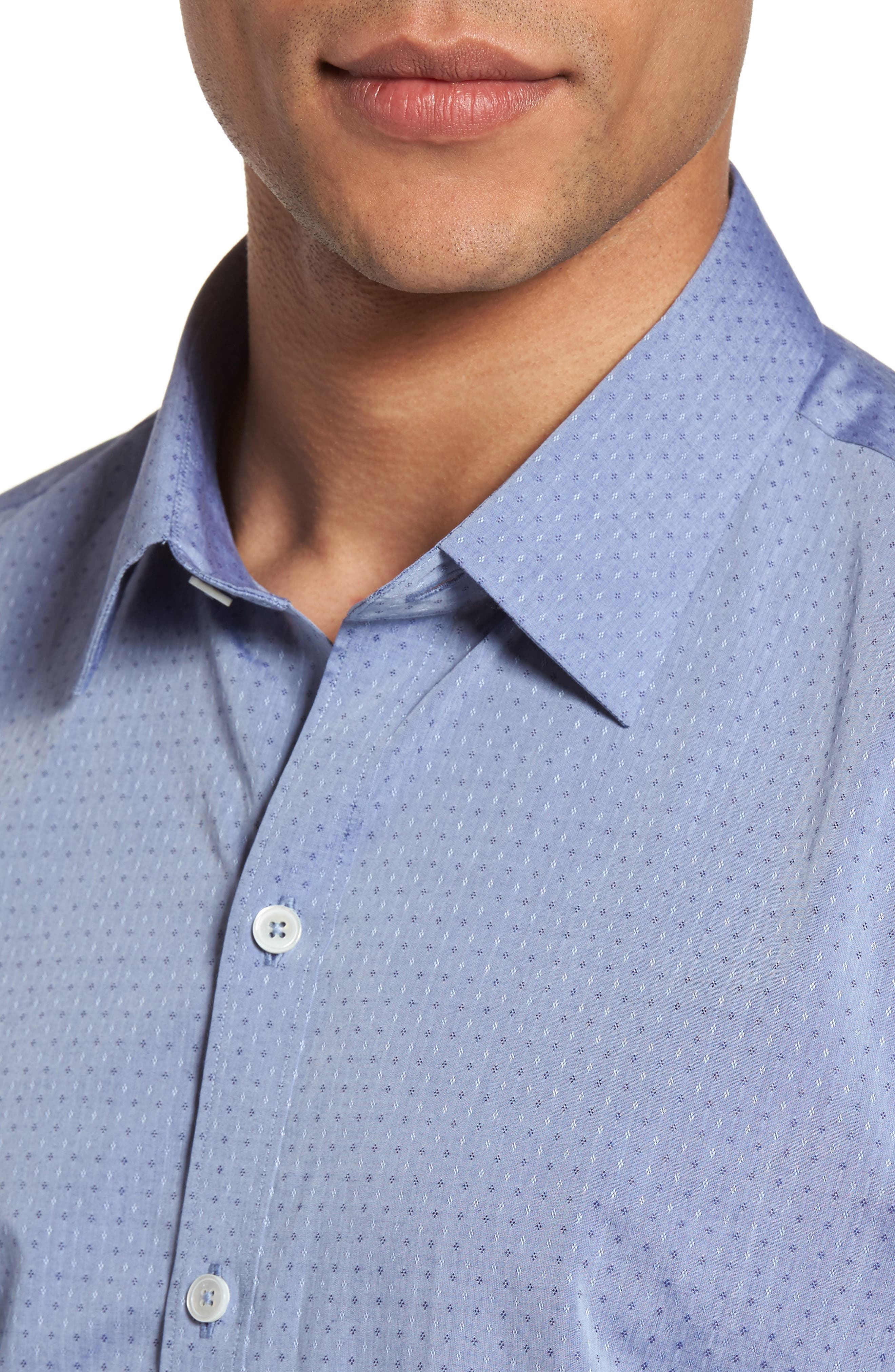 Diamond Print Short Sleeve Sport Shirt,                             Alternate thumbnail 2, color,                             Blue