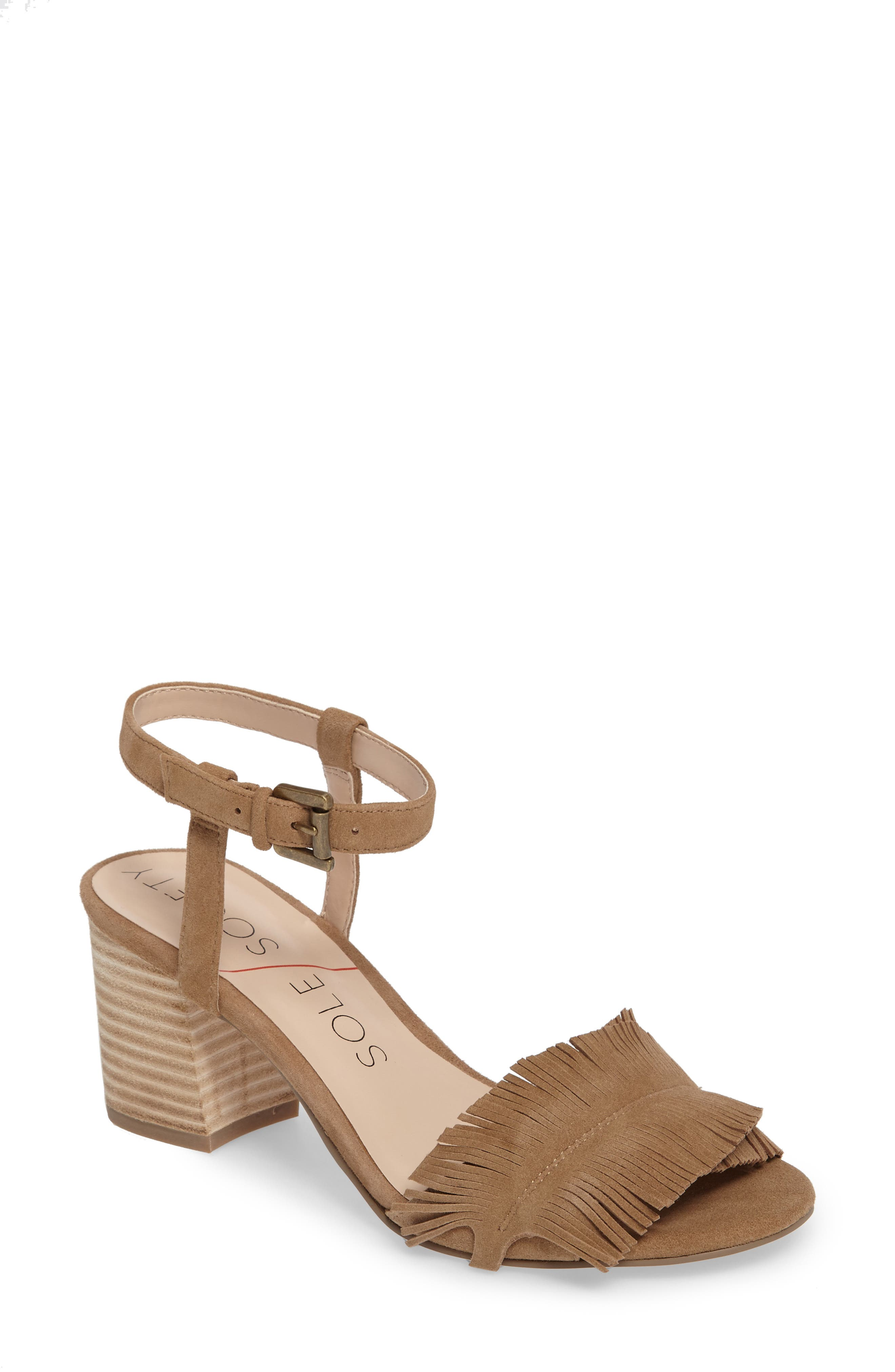 Sepia Fringe Sandal,                         Main,                         color, Coffee Suede