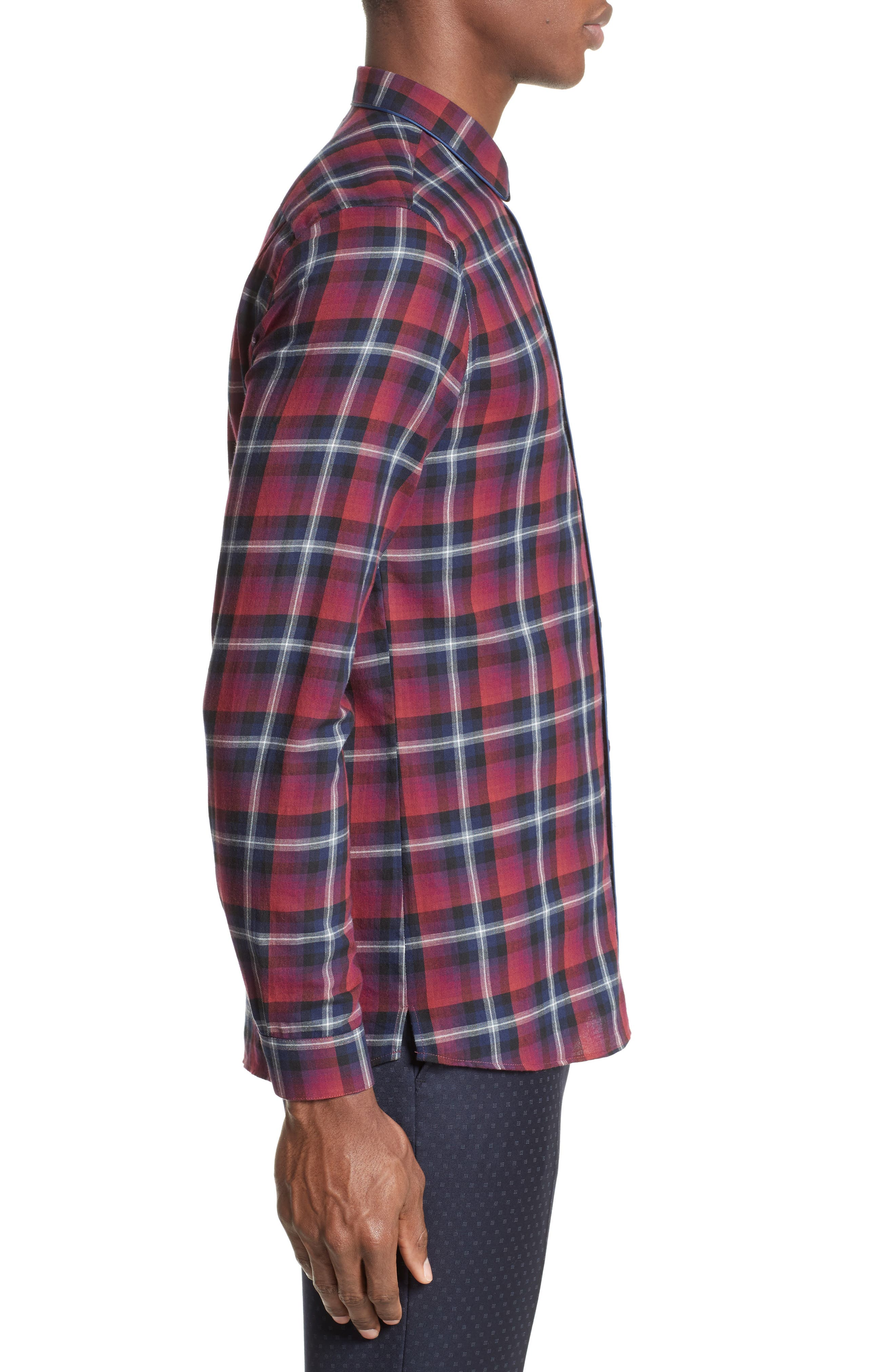 Contrast Piping Plaid Sport Shirt,                             Alternate thumbnail 3, color,                             Red