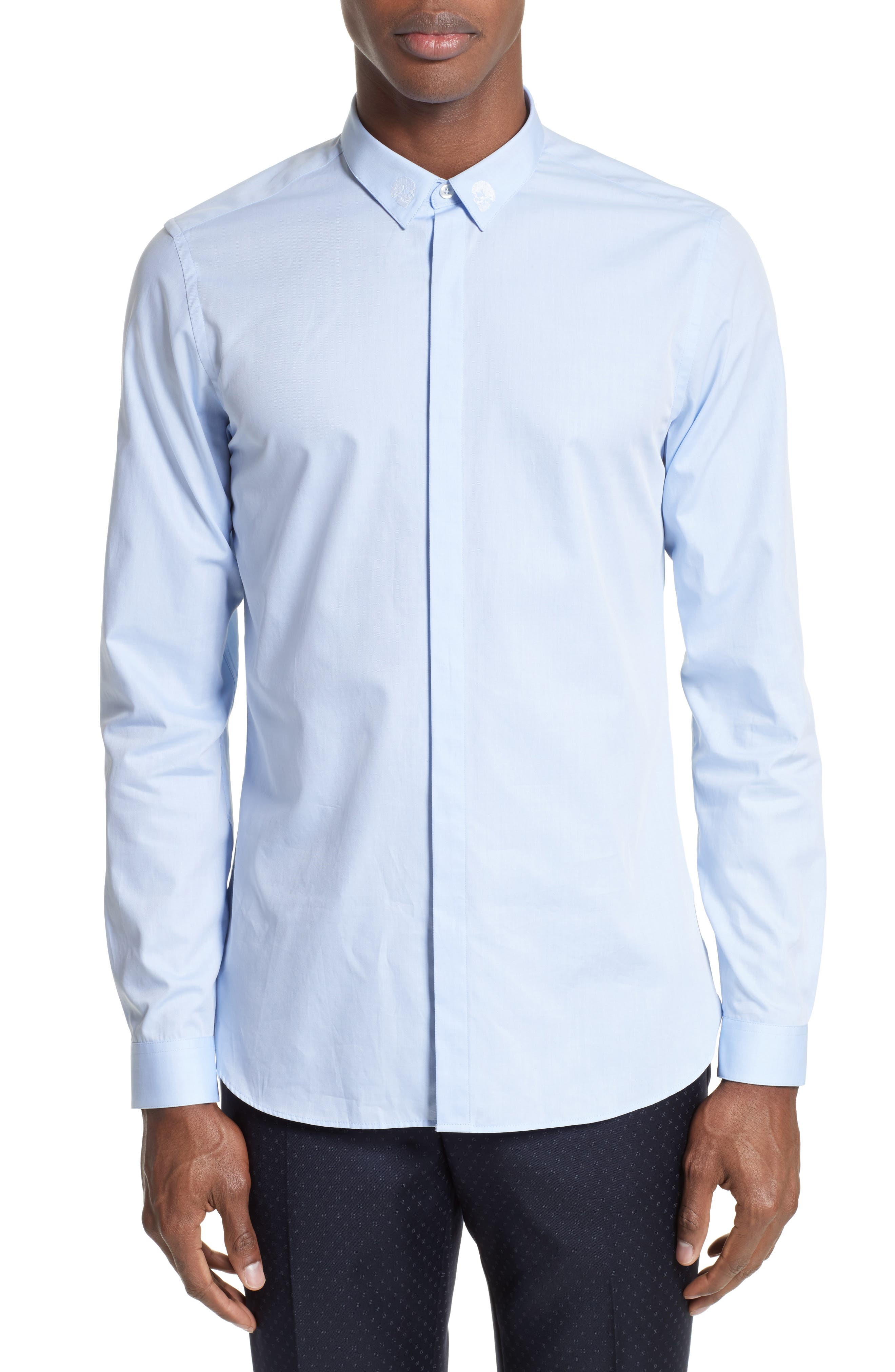 Skull Embroidered Woven Shirt,                         Main,                         color, Blue