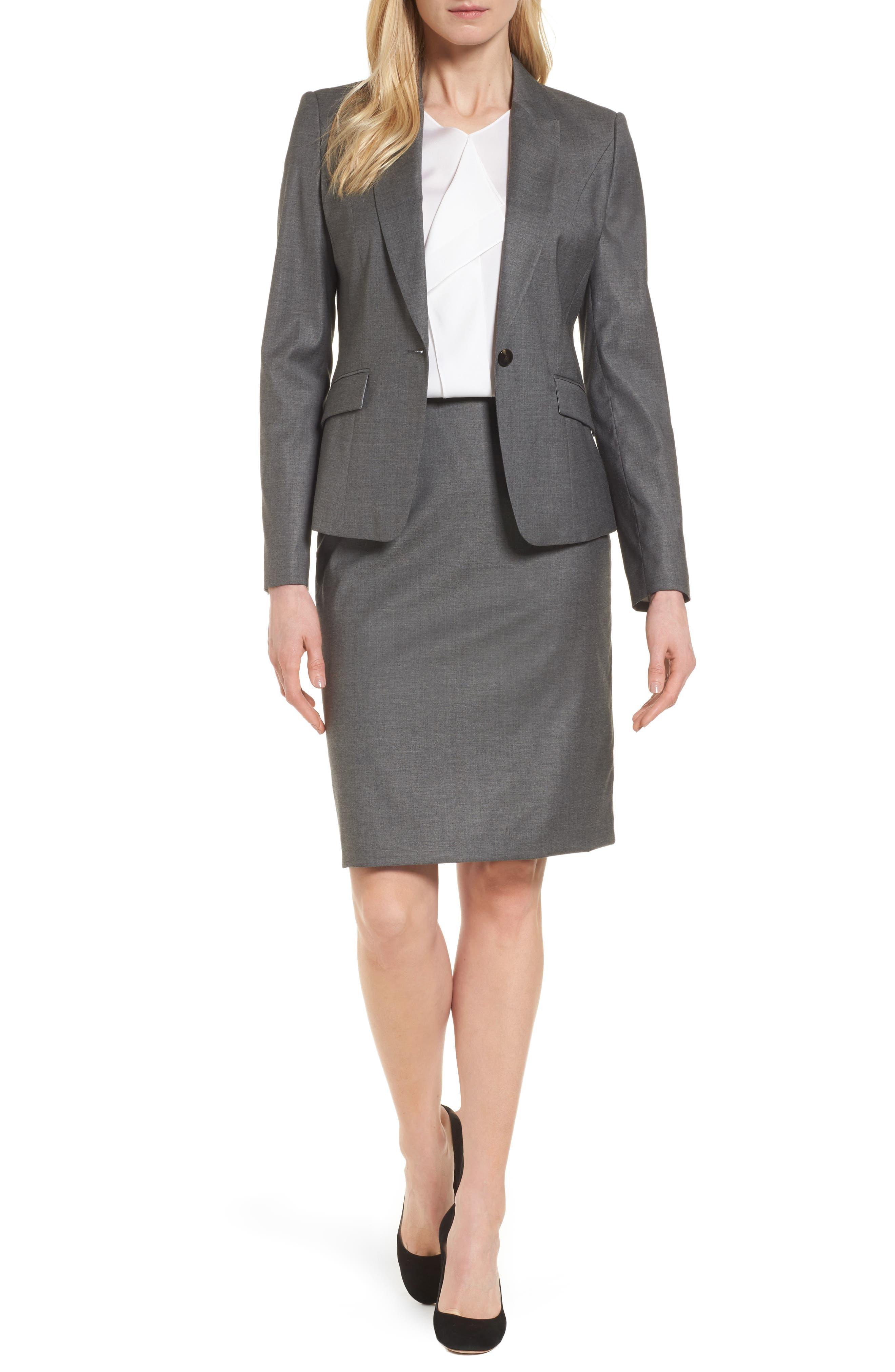 Alternate Image 2  - BOSS Vileana Wool Blend Suit Skirt