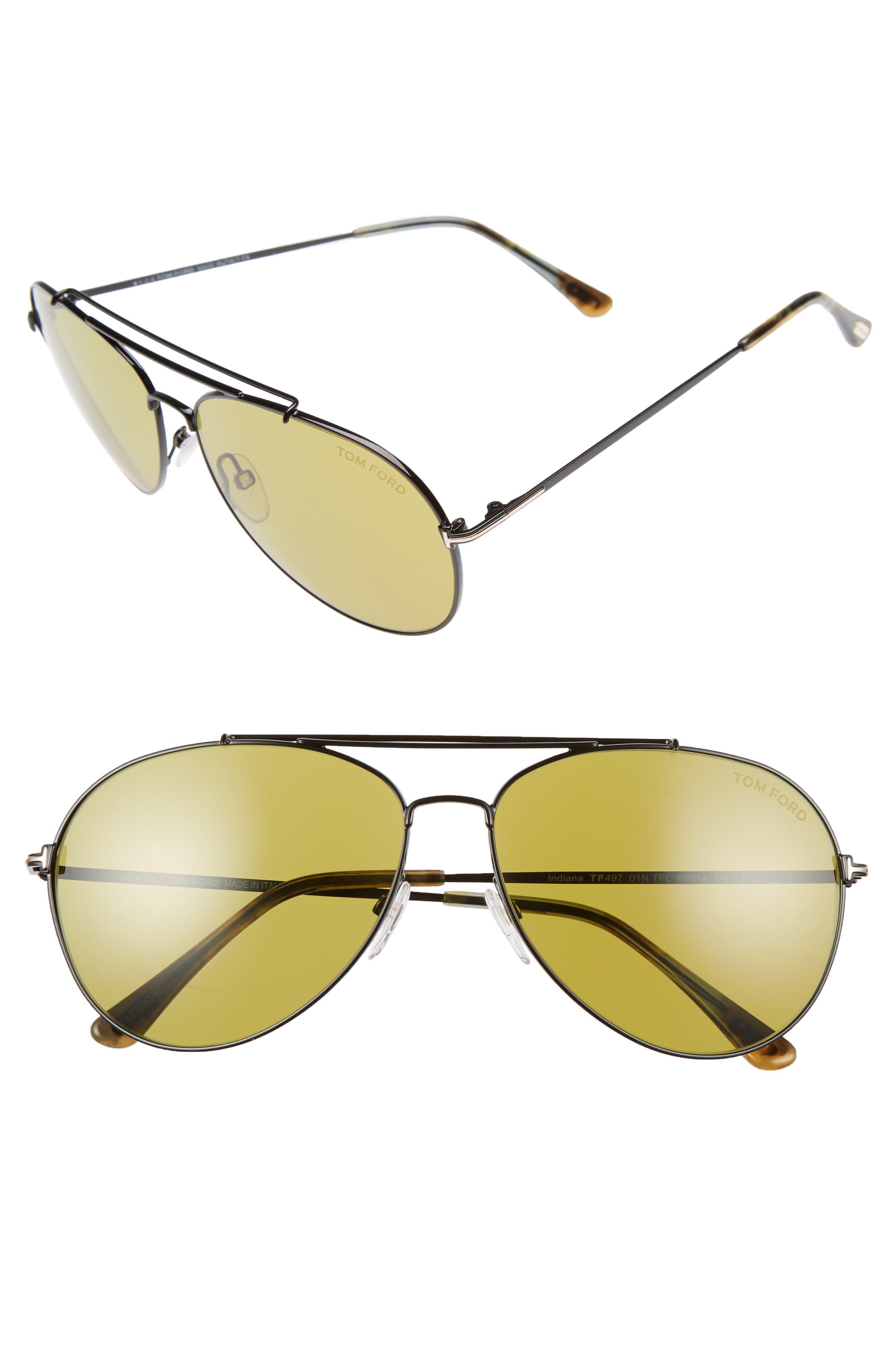 Indiana 58mm Barberini Lens Aviator Sunglasses,                         Main,                         color, Green/ Green Havana/ Black