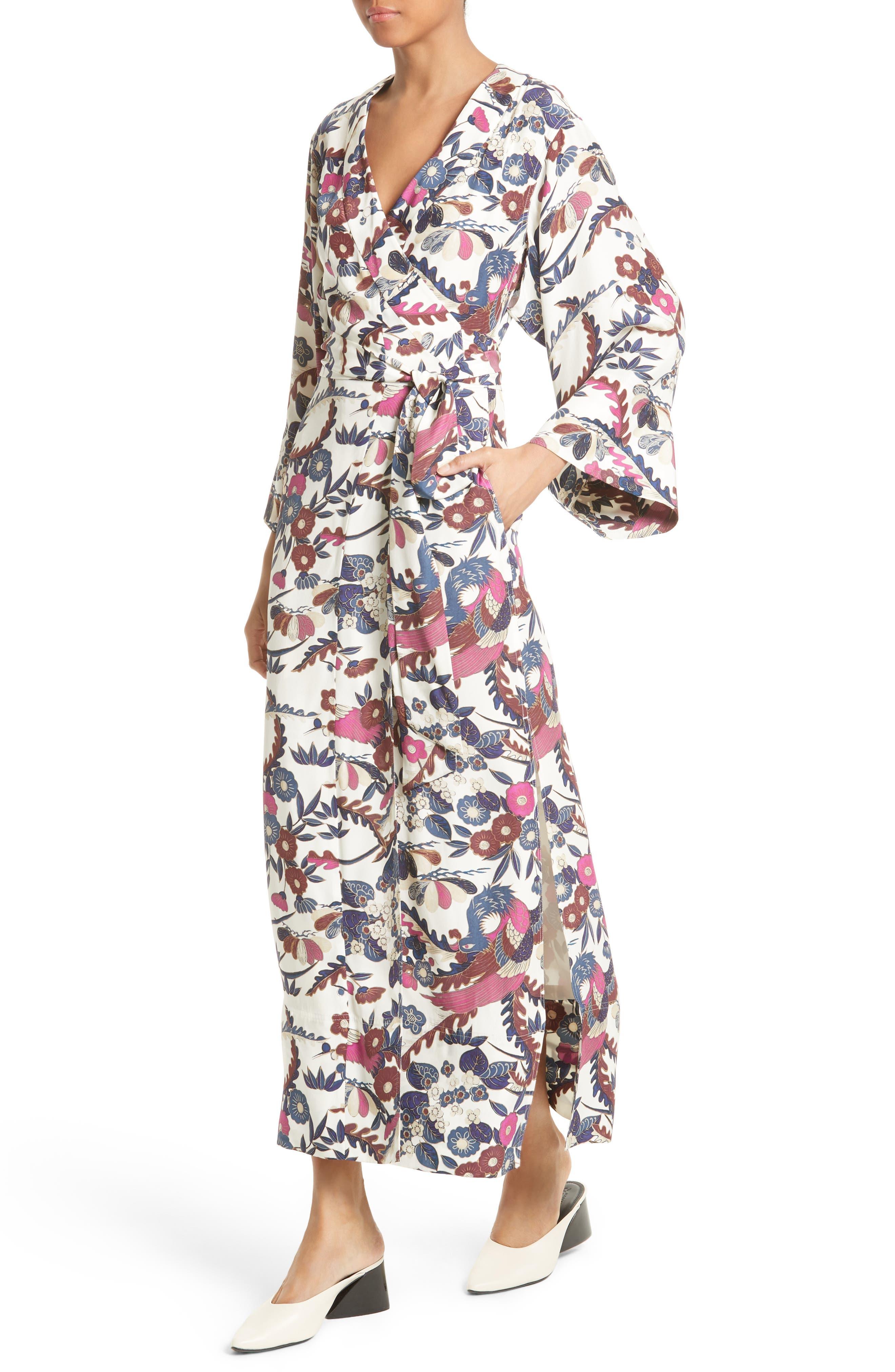 Howe Kimono Wrap Dress,                             Alternate thumbnail 4, color,                             Ivory