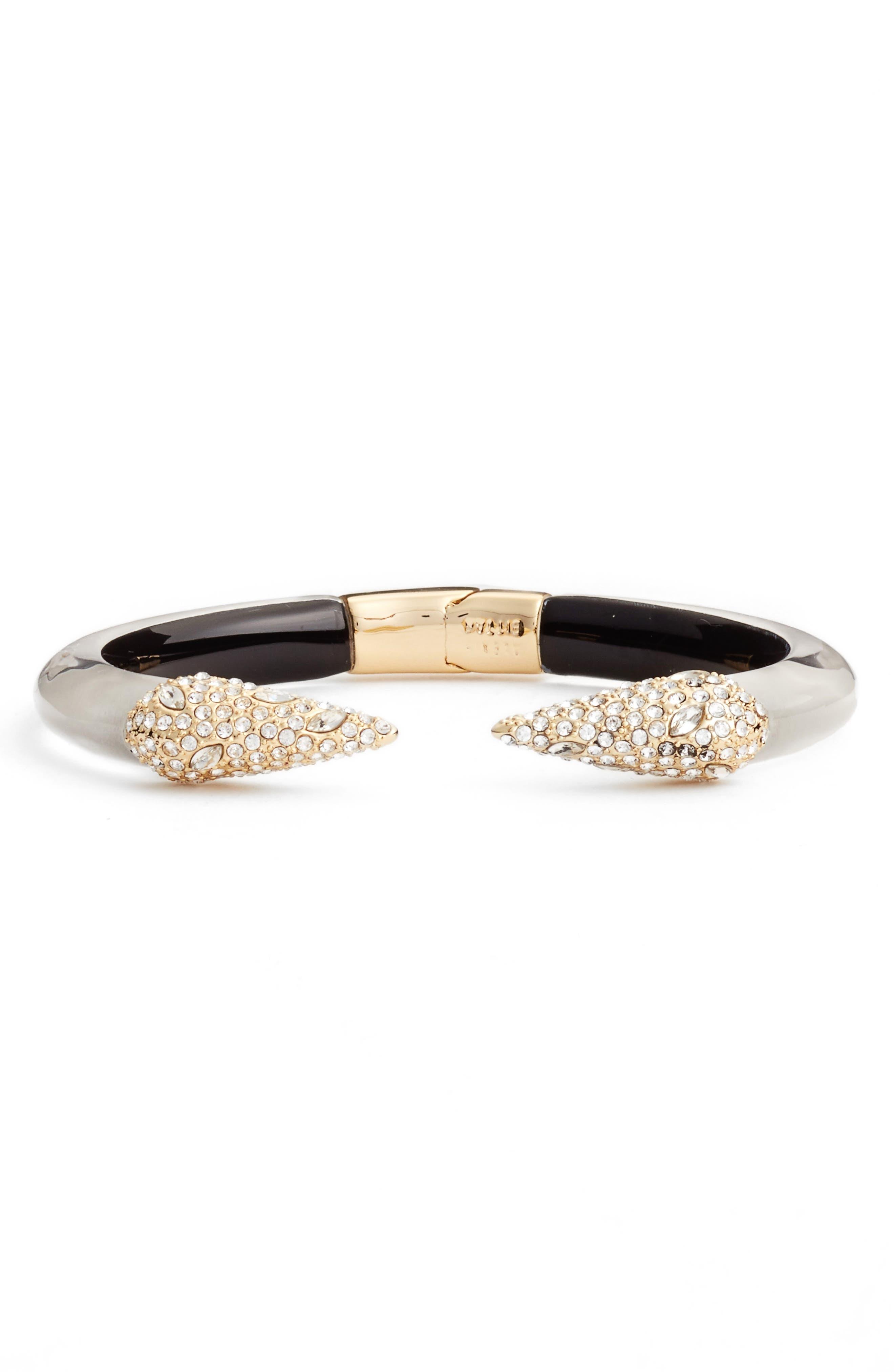 Encrusted Hinge Bracelet,                             Main thumbnail 1, color,                             Polished Silver