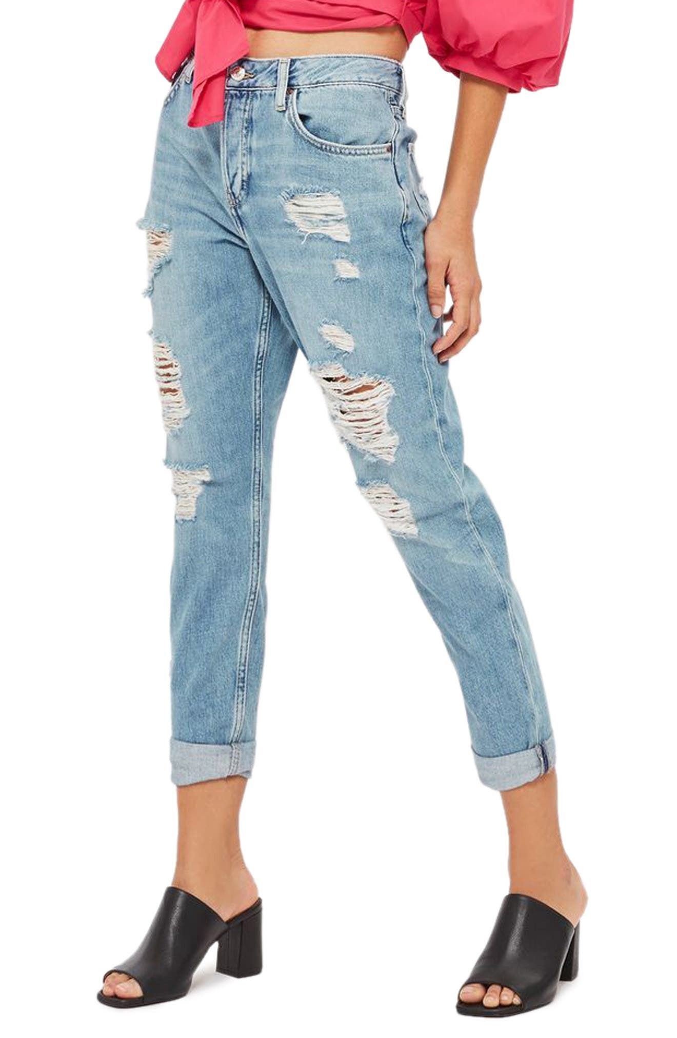 Moto Hayden Super Ripped Boyfriend Jeans,                             Main thumbnail 1, color,                             Light Denim