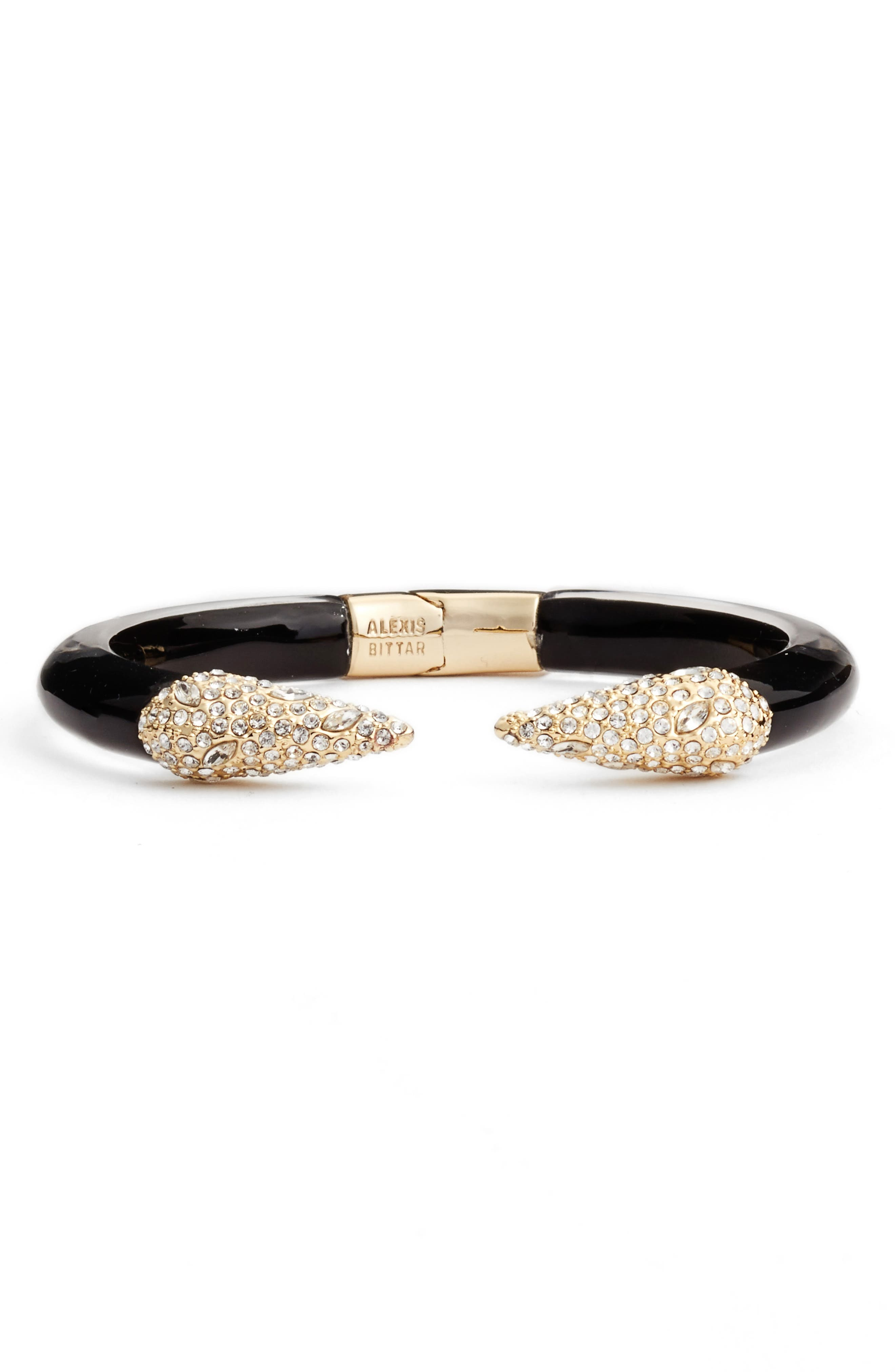 Encrusted Hinge Bracelet,                         Main,                         color, Black