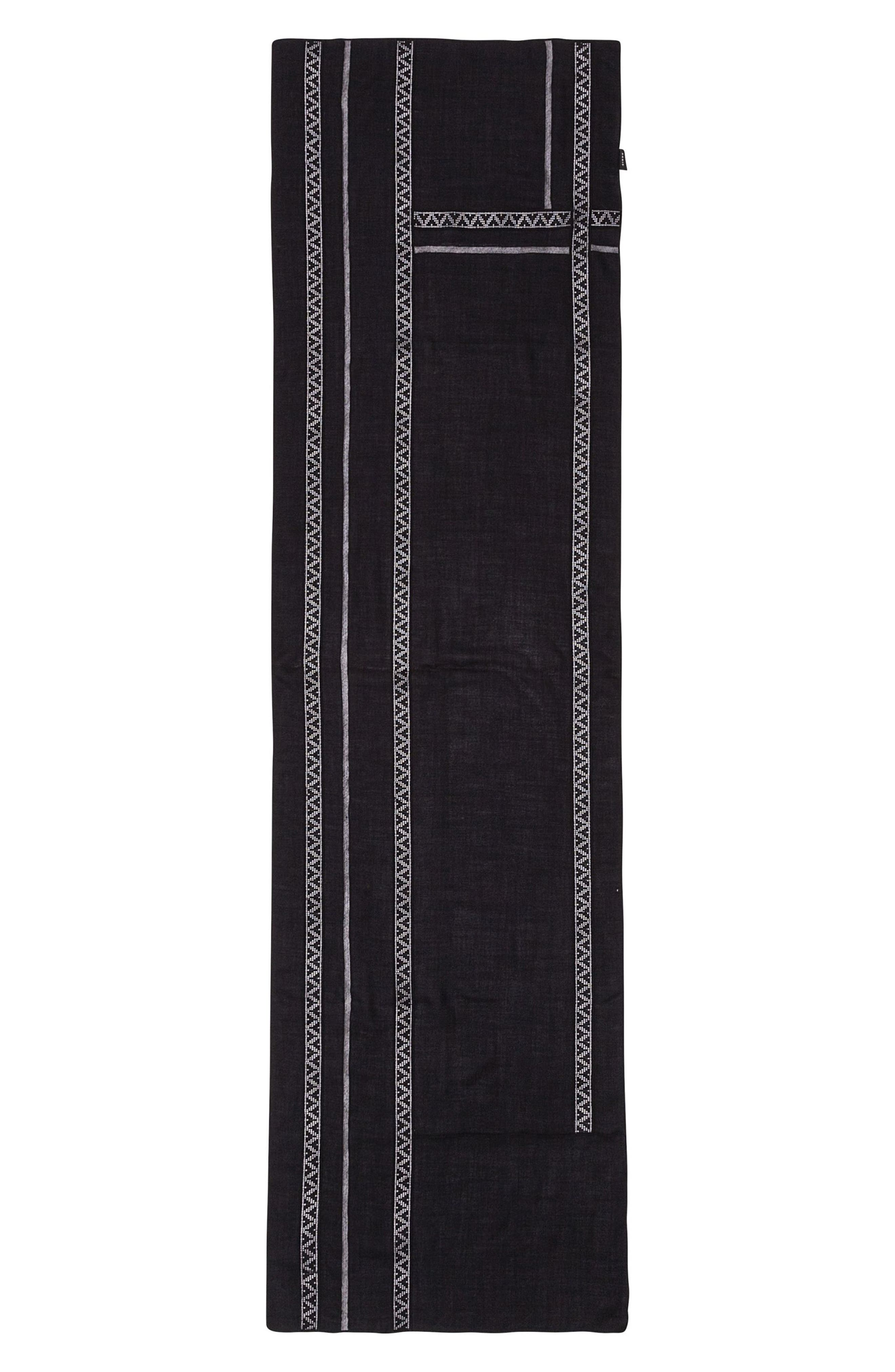 Lace Inset Modal & Cashmere Scarf,                         Main,                         color, Black