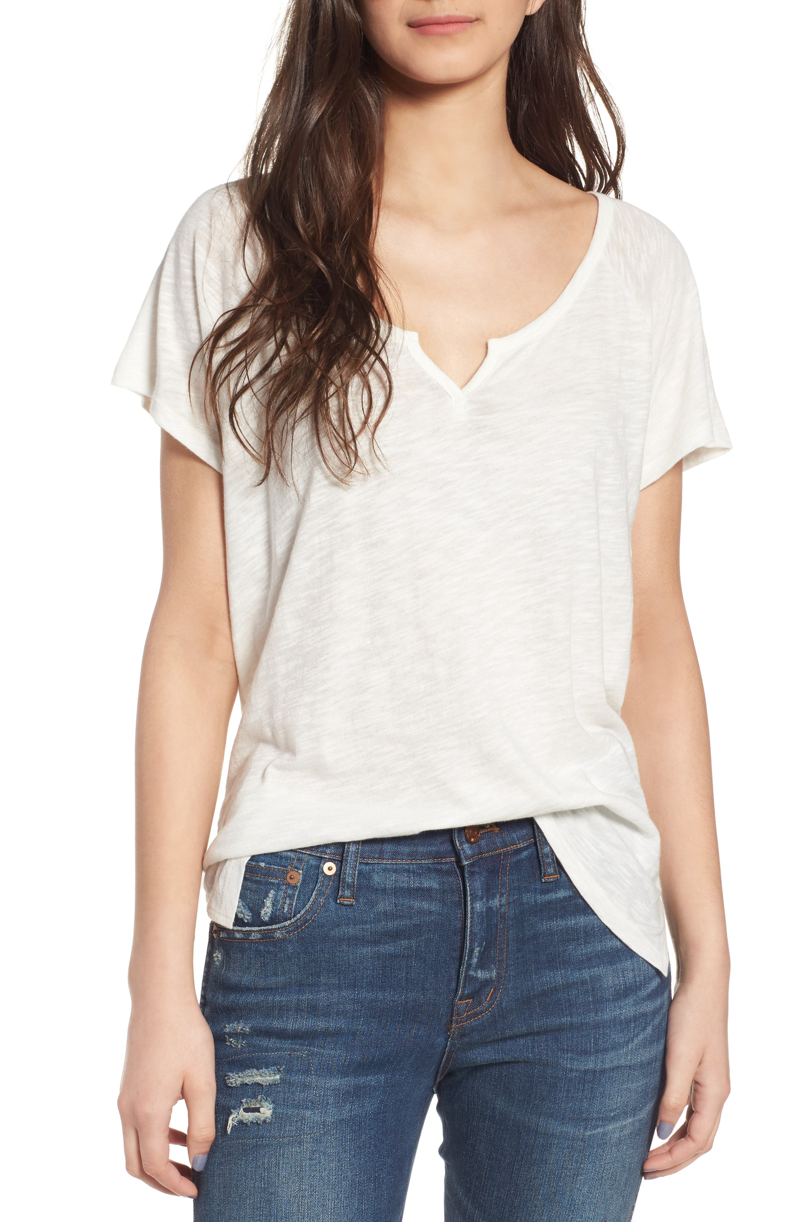Alternate Image 1 Selected - Madewell Choral Split Neck Tee