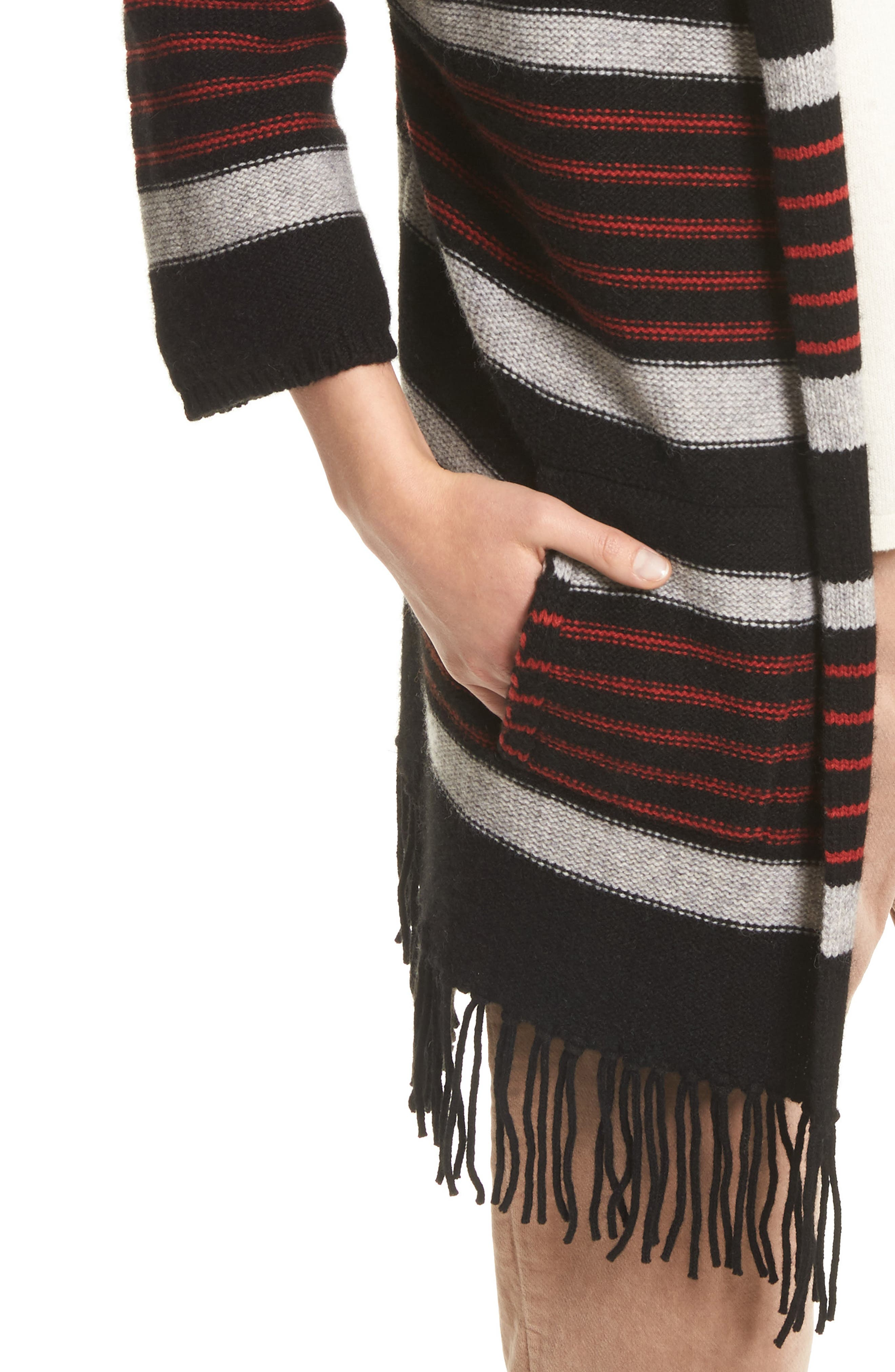 Gabrina Stripe Open Front Hoodie,                             Alternate thumbnail 4, color,                             Caviar / Grey / Tandoori Red