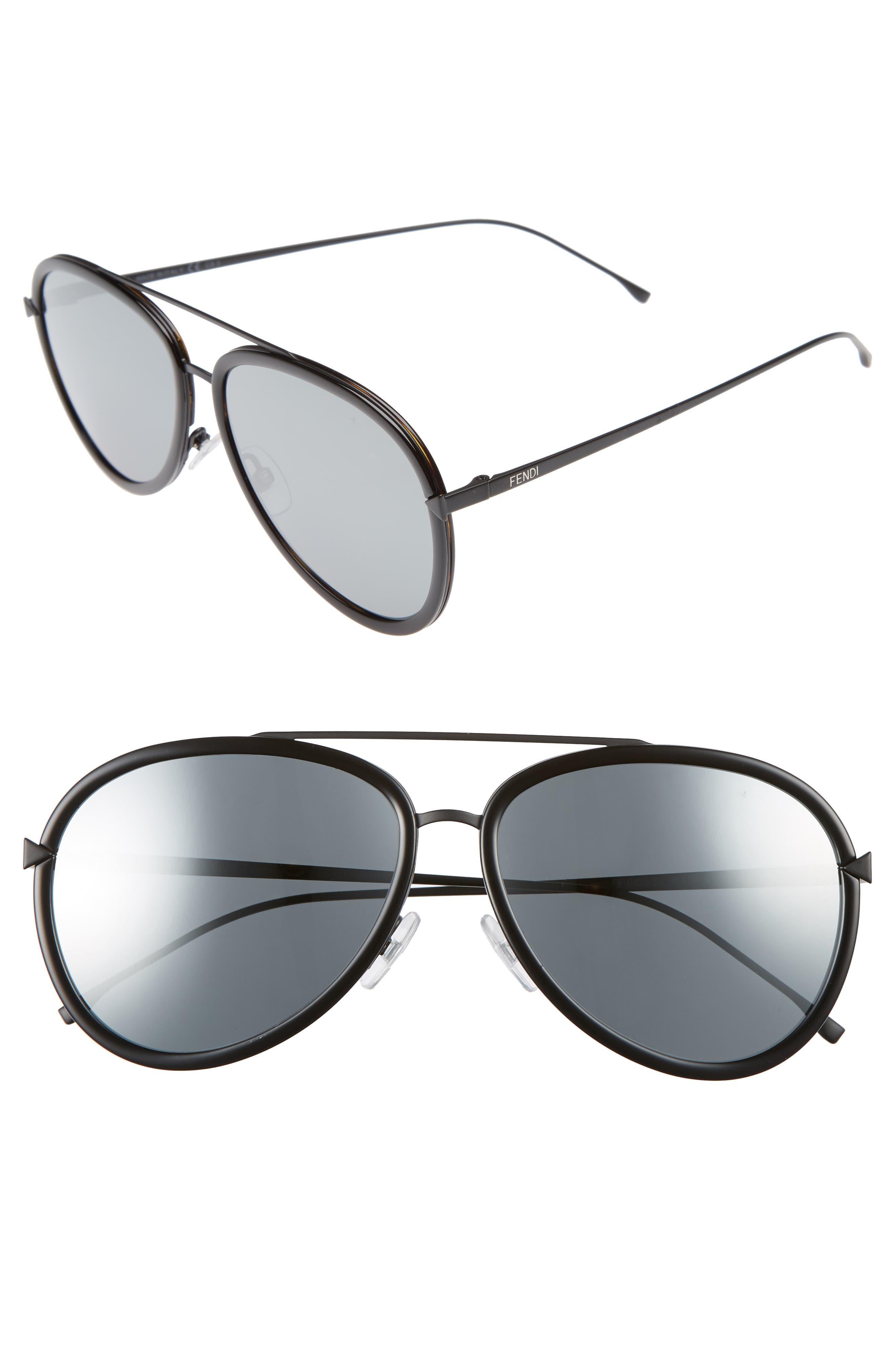 Main Image - Fendi 57mm Mirrored Lens Aviator Sunglasses
