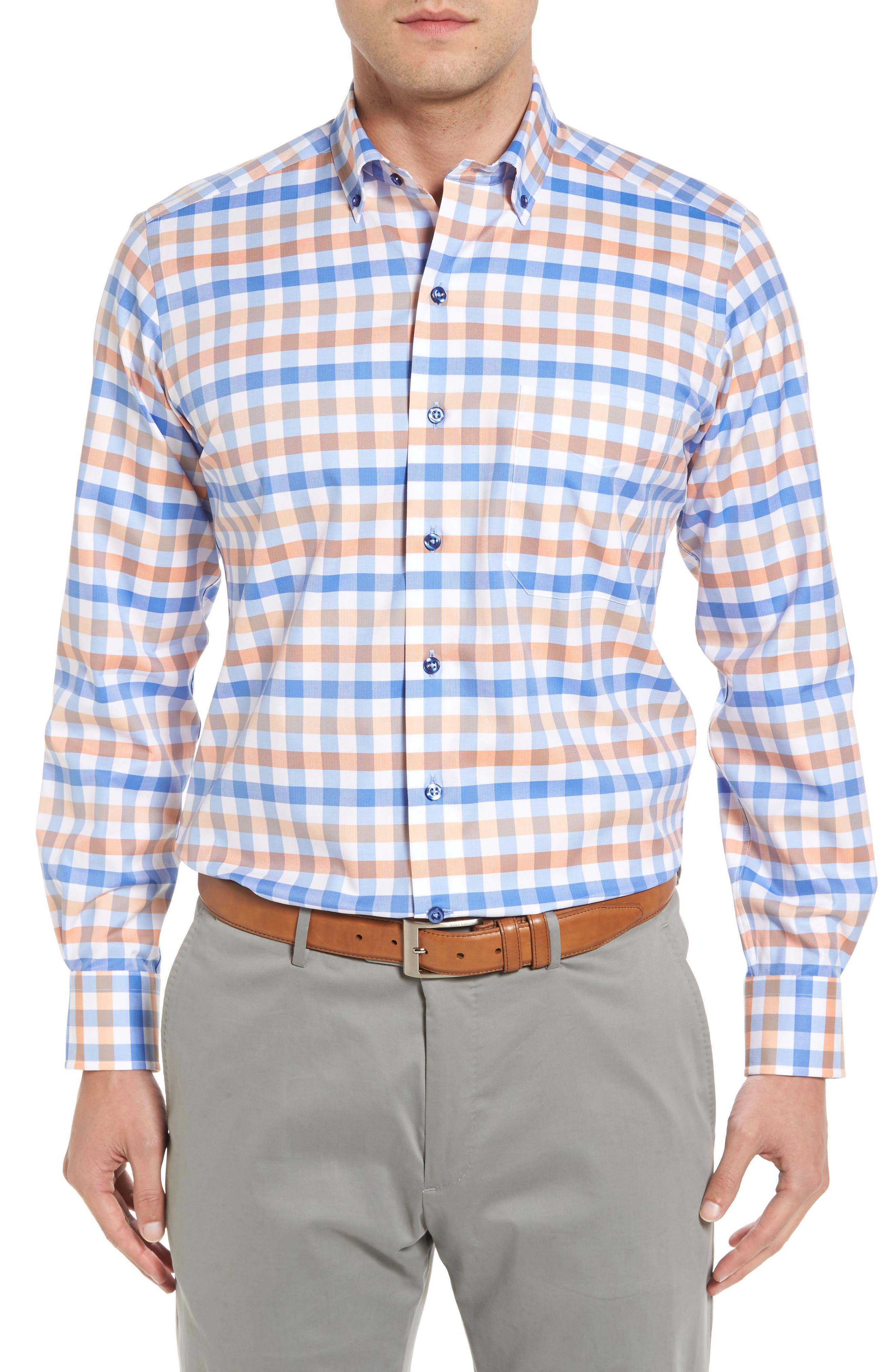 Regular Fit Check Sport Shirt,                         Main,                         color, Blue/ Melon