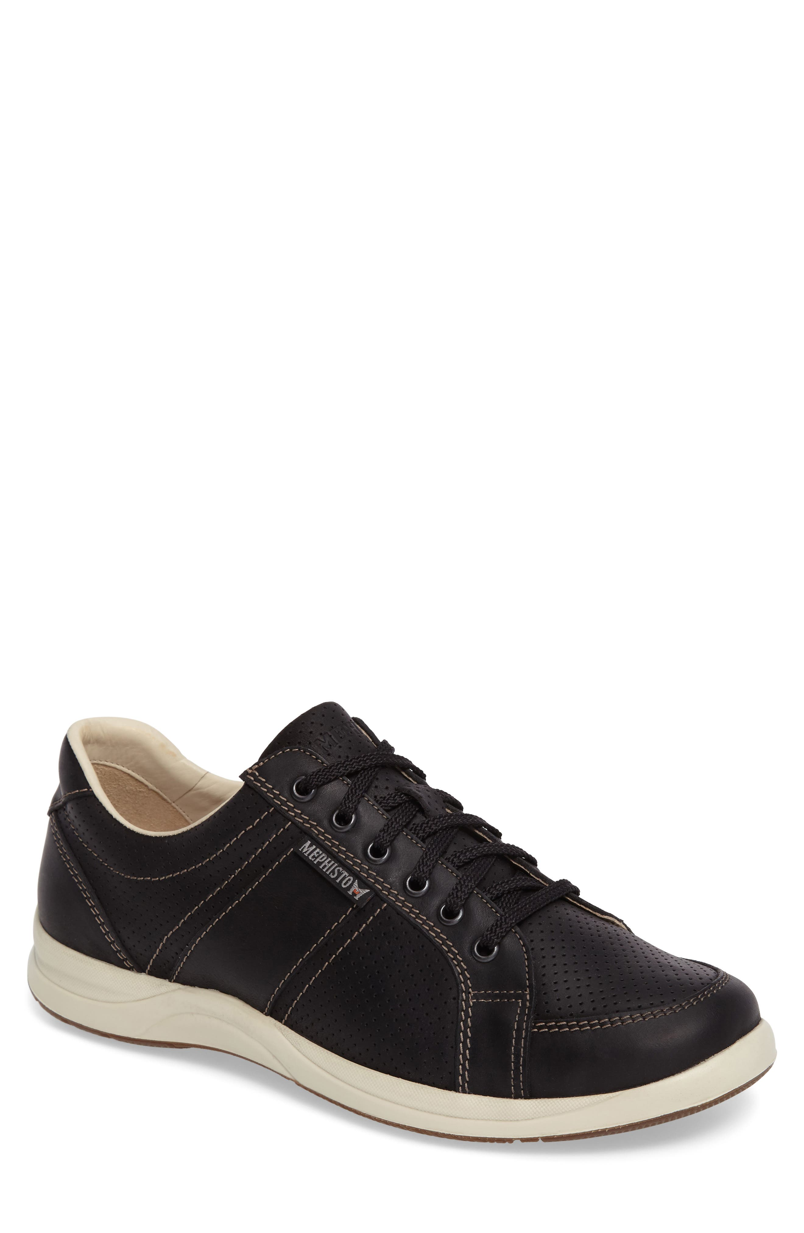 'Hero' Perforated Sneaker,                             Main thumbnail 1, color,                             Black Nubuck Leather