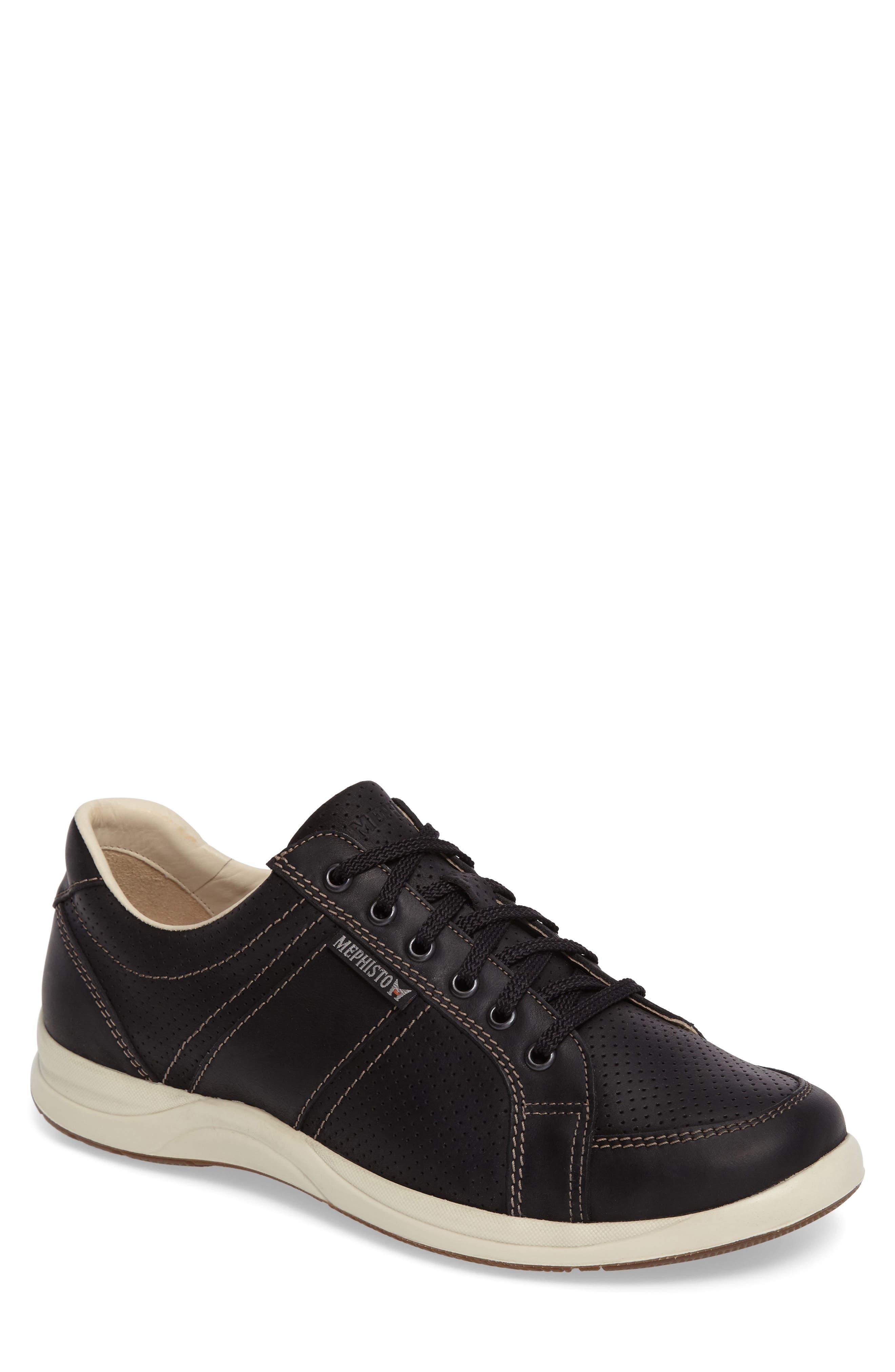 'Hero' Perforated Sneaker,                         Main,                         color, Black Nubuck Leather