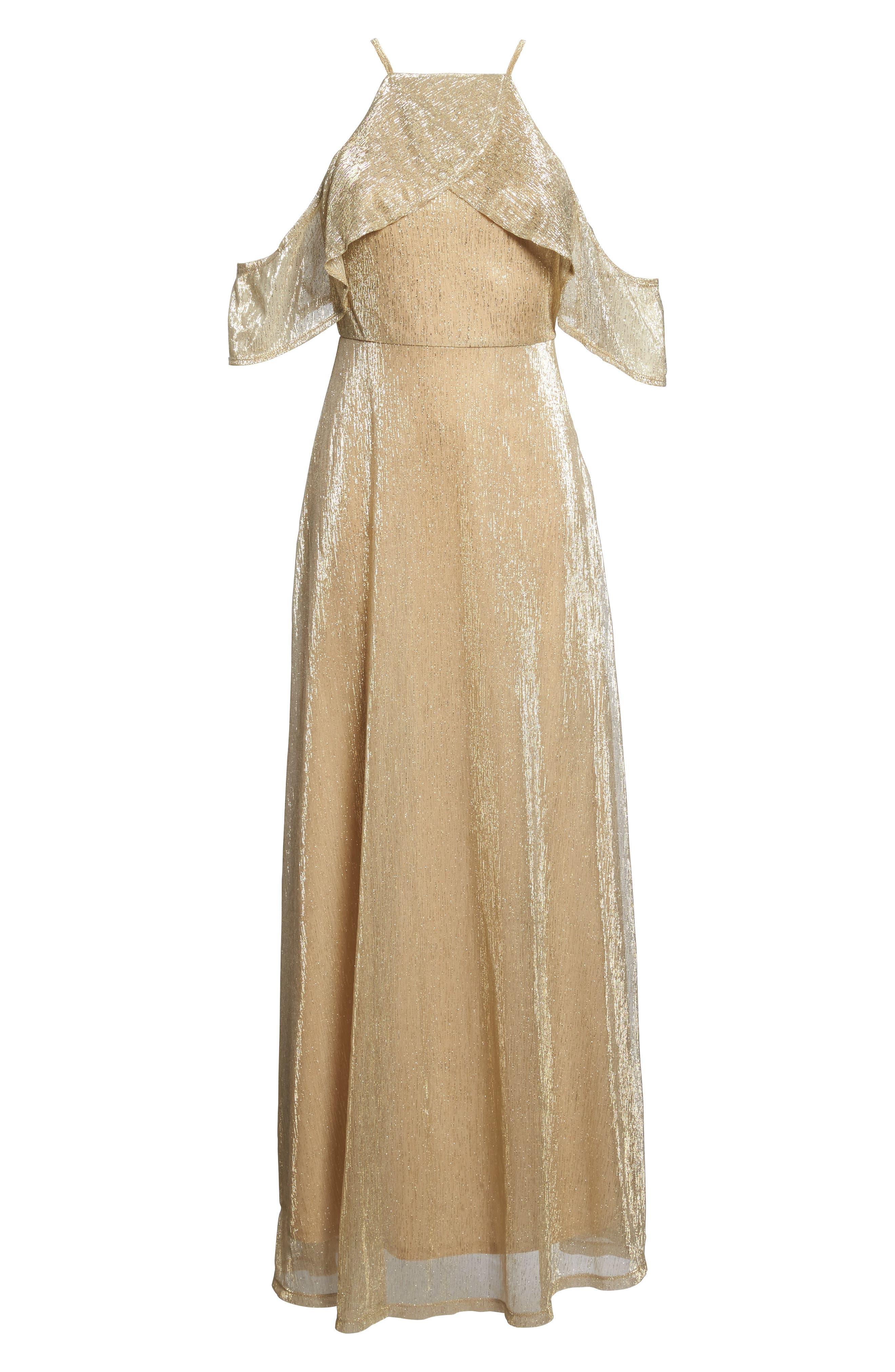 Cold Shoulder Gown,                             Alternate thumbnail 6, color,                             Gold