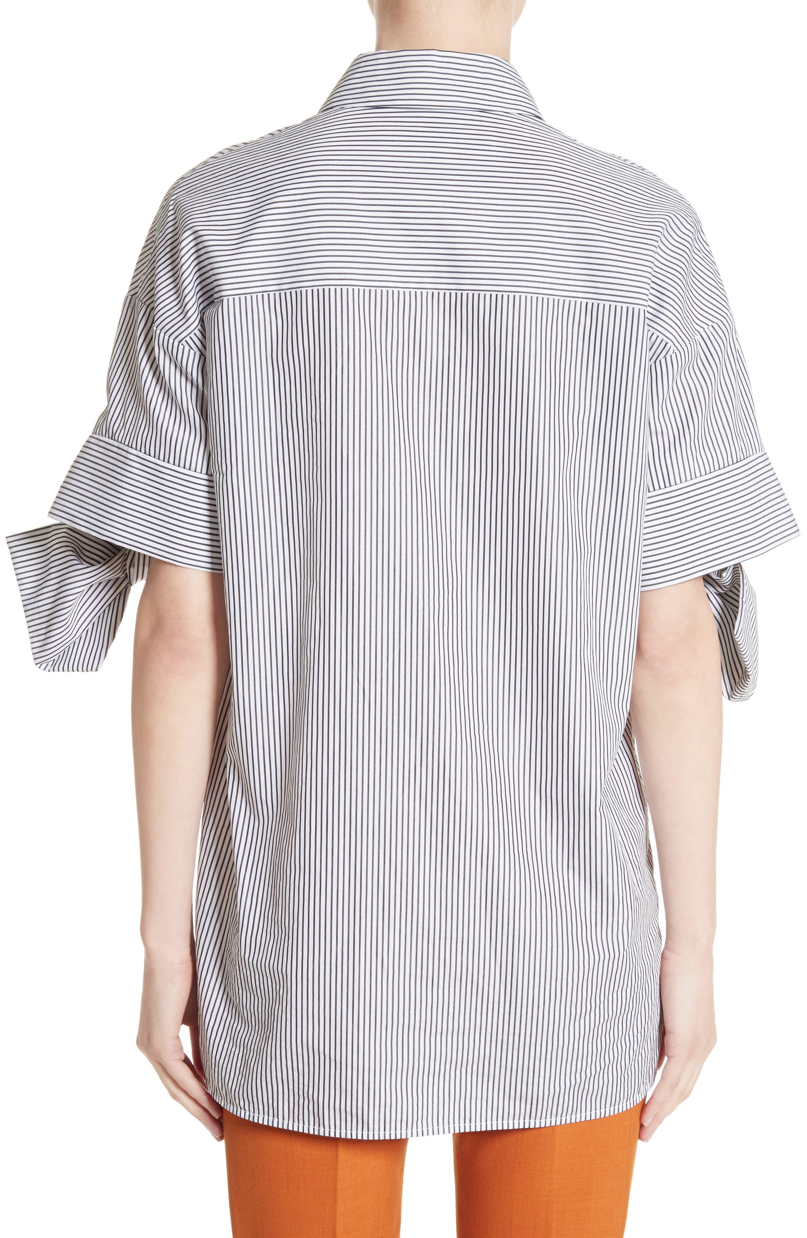 Bow Sleeve Shirt,                             Alternate thumbnail 2, color,                             Black/ White