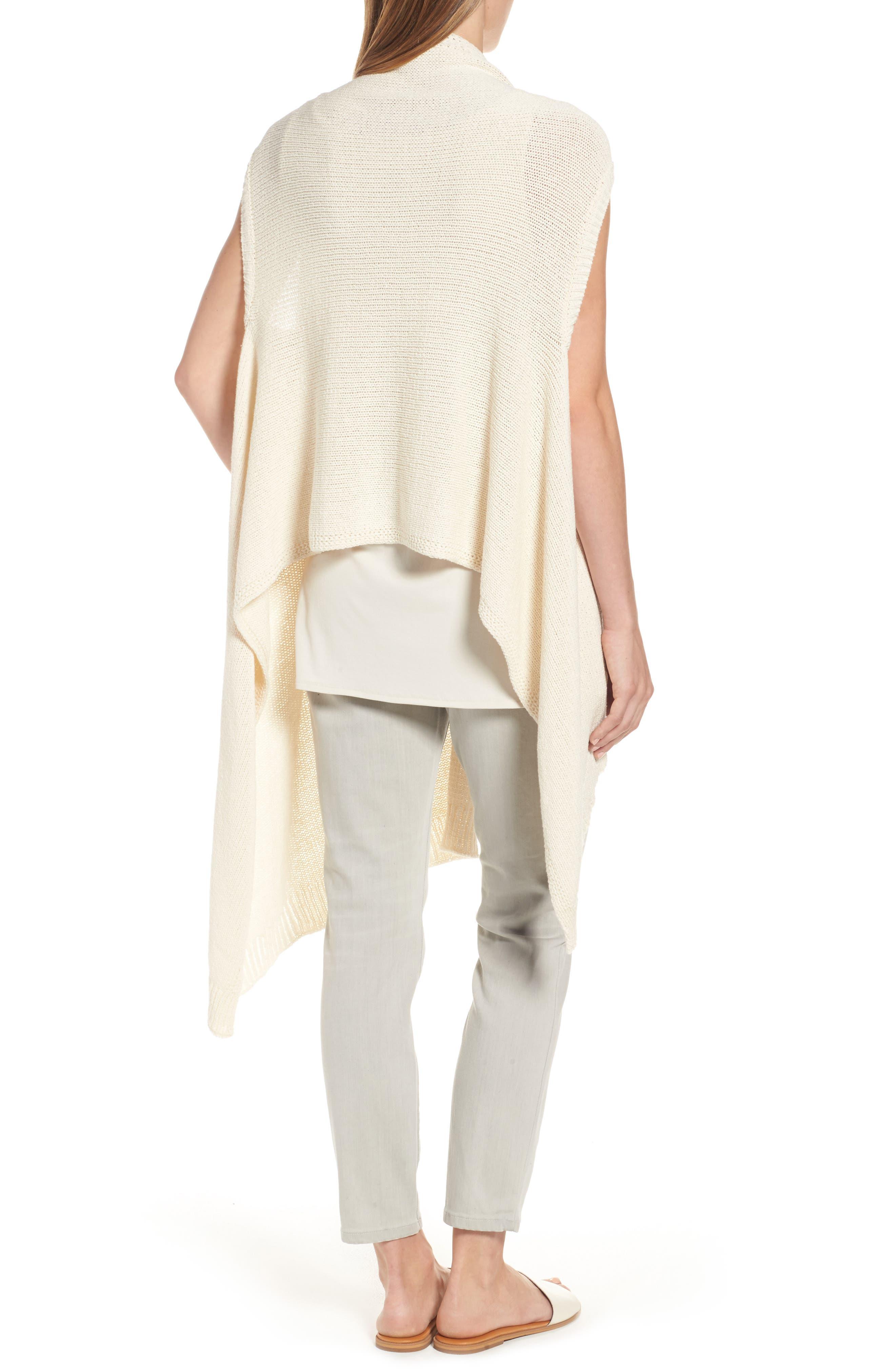 Alternate Image 2  - Eileen Fisher Cotton Blend Knit Asymmetrical Wrap (Regular & Petite)