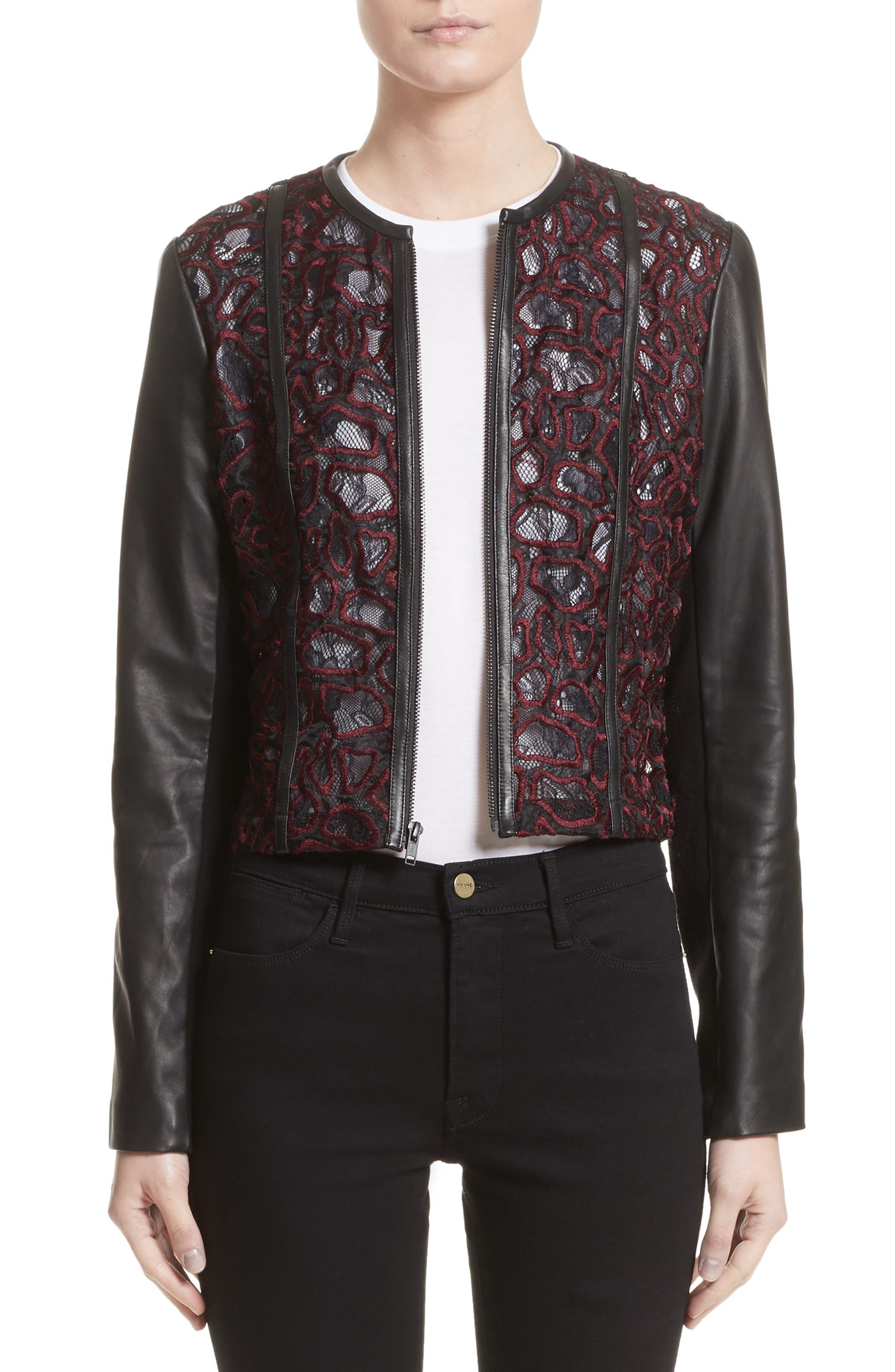 YIGAL AZROUËL Lace & Lambskin Leather Moto Jacket