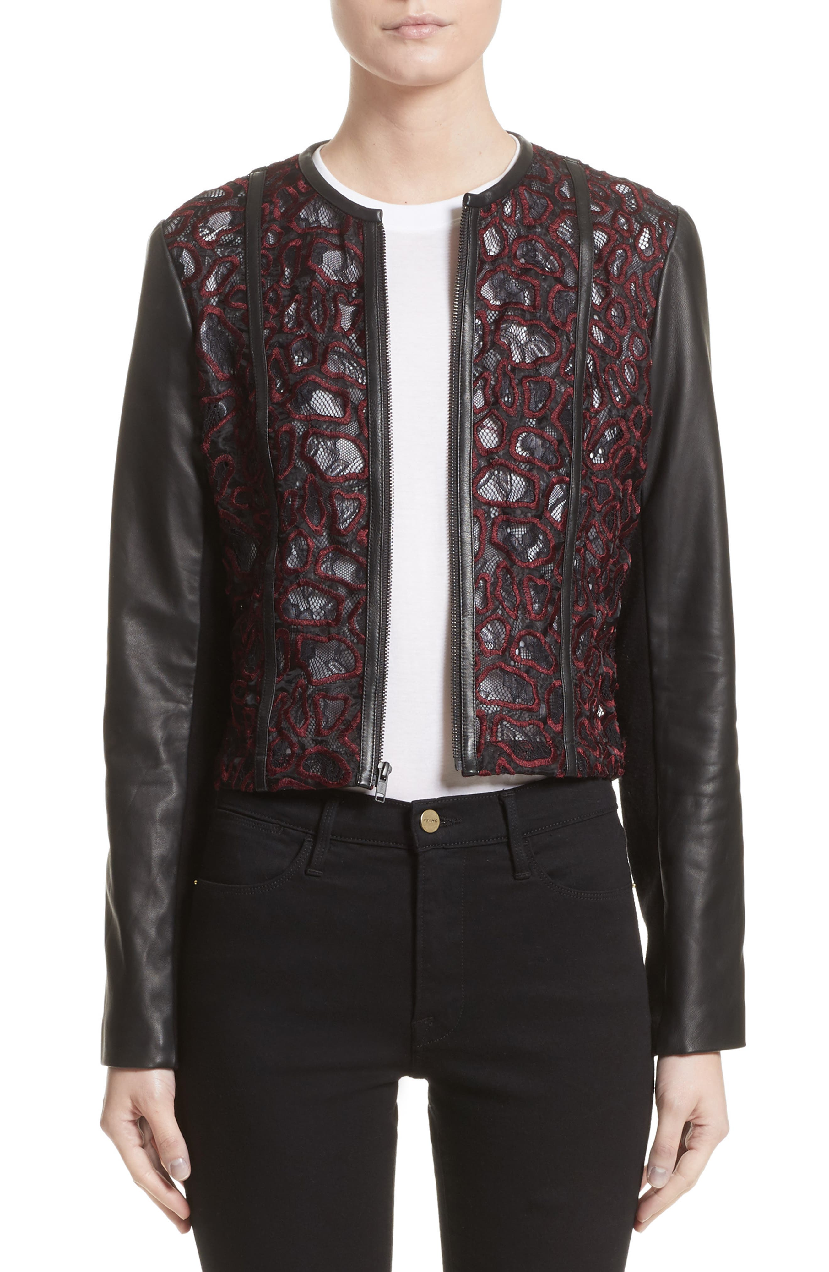 Yigal Azrouël Lace & Lambskin Leather Moto Jacket (Nordstrom Exclusive)